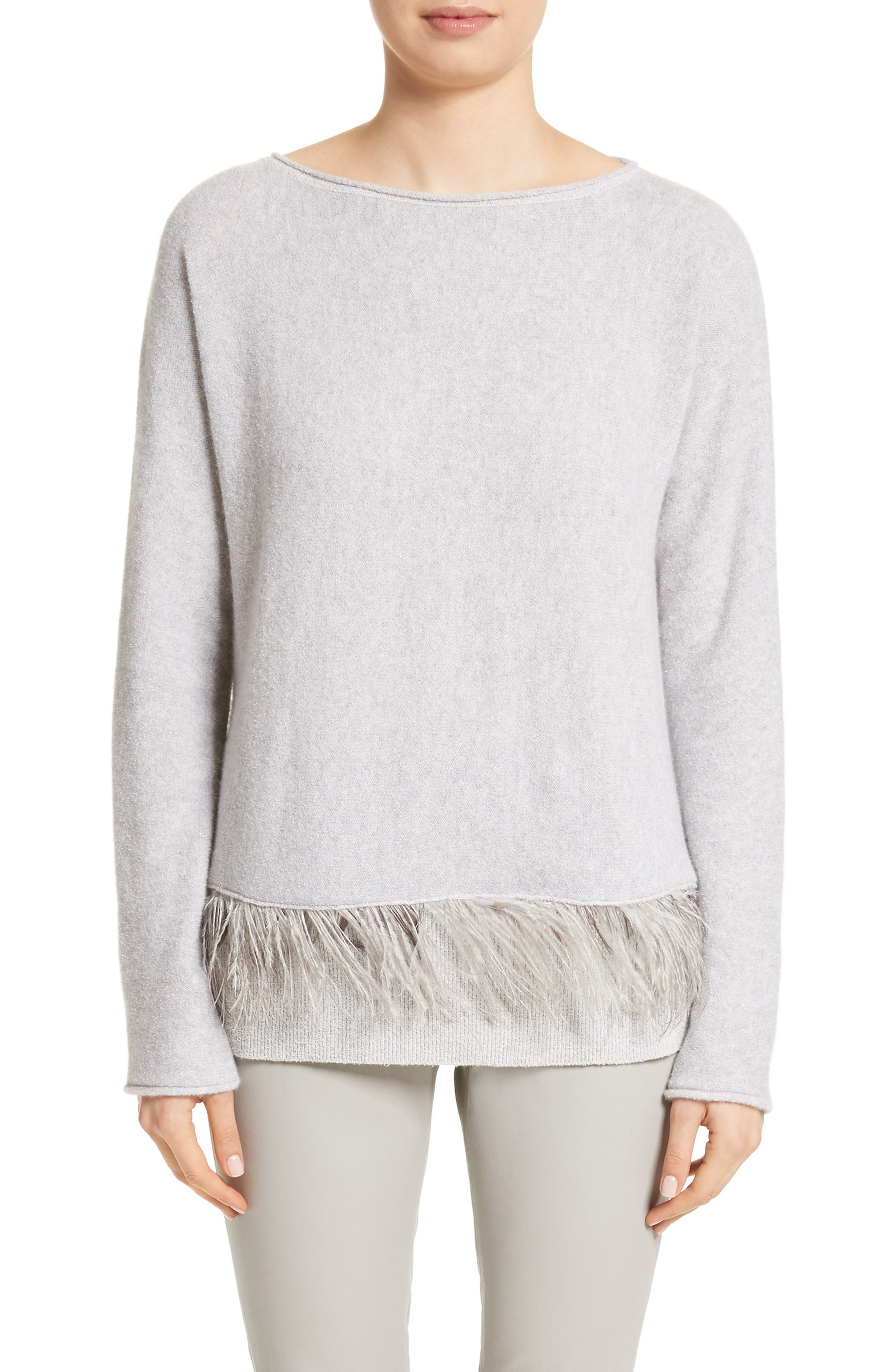 Cashmere Blend Sweater with Genuine Ostrich & Turkey Feather Trim,                         Main,                         color, Grey