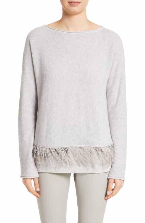 Fabiana Filippi Cashmere Blend Sweater with Genuine Ostrich & Turkey Feather Trim