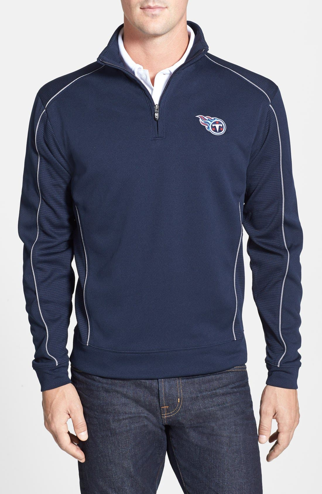 Tennessee Titans - Edge DryTec Moisture Wicking Half Zip Pullover,                         Main,                         color, Navy Blue