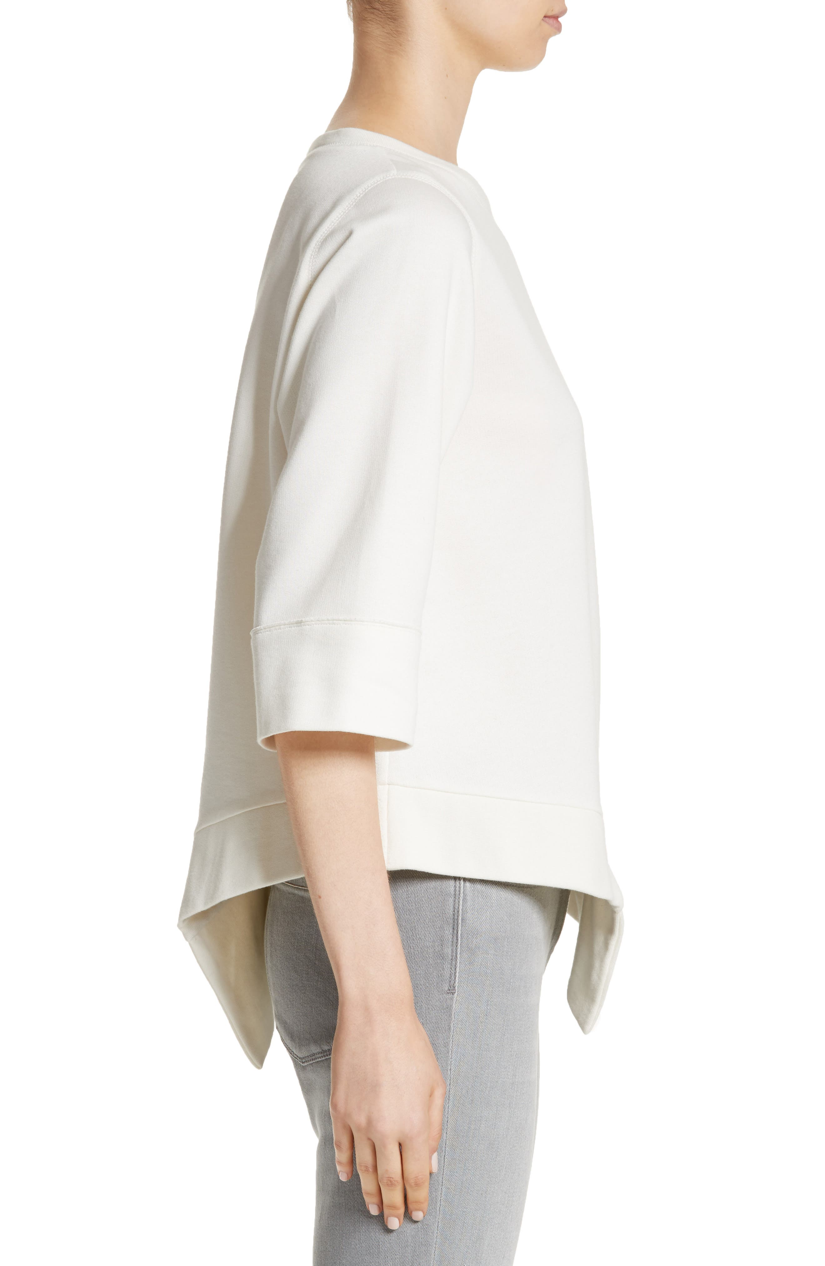 Asymmetrical Cotton Sweatshirt,                             Alternate thumbnail 4, color,                             Ivory