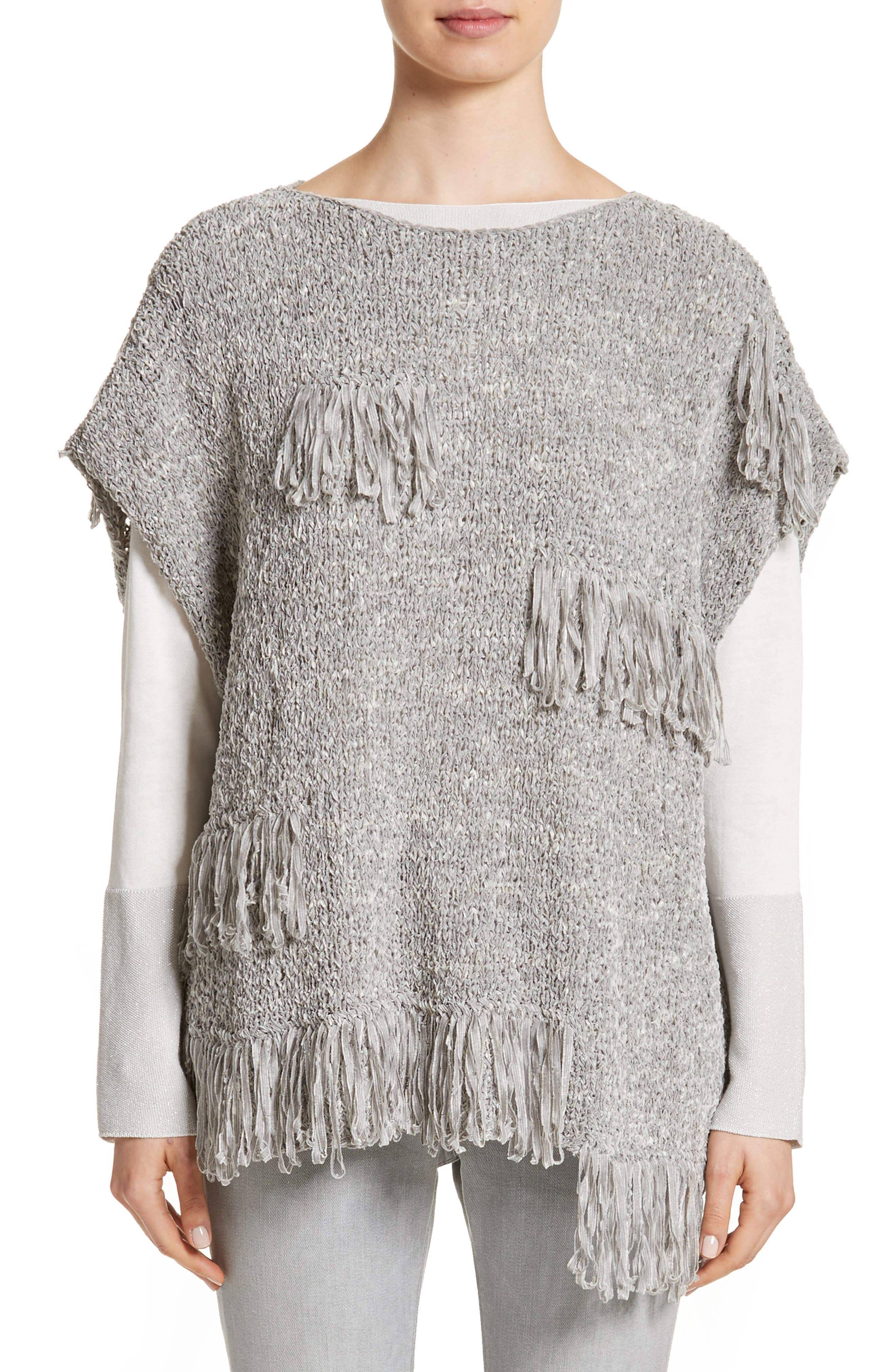 Fringe Chenille Knit Poncho Sweater,                         Main,                         color, Grey