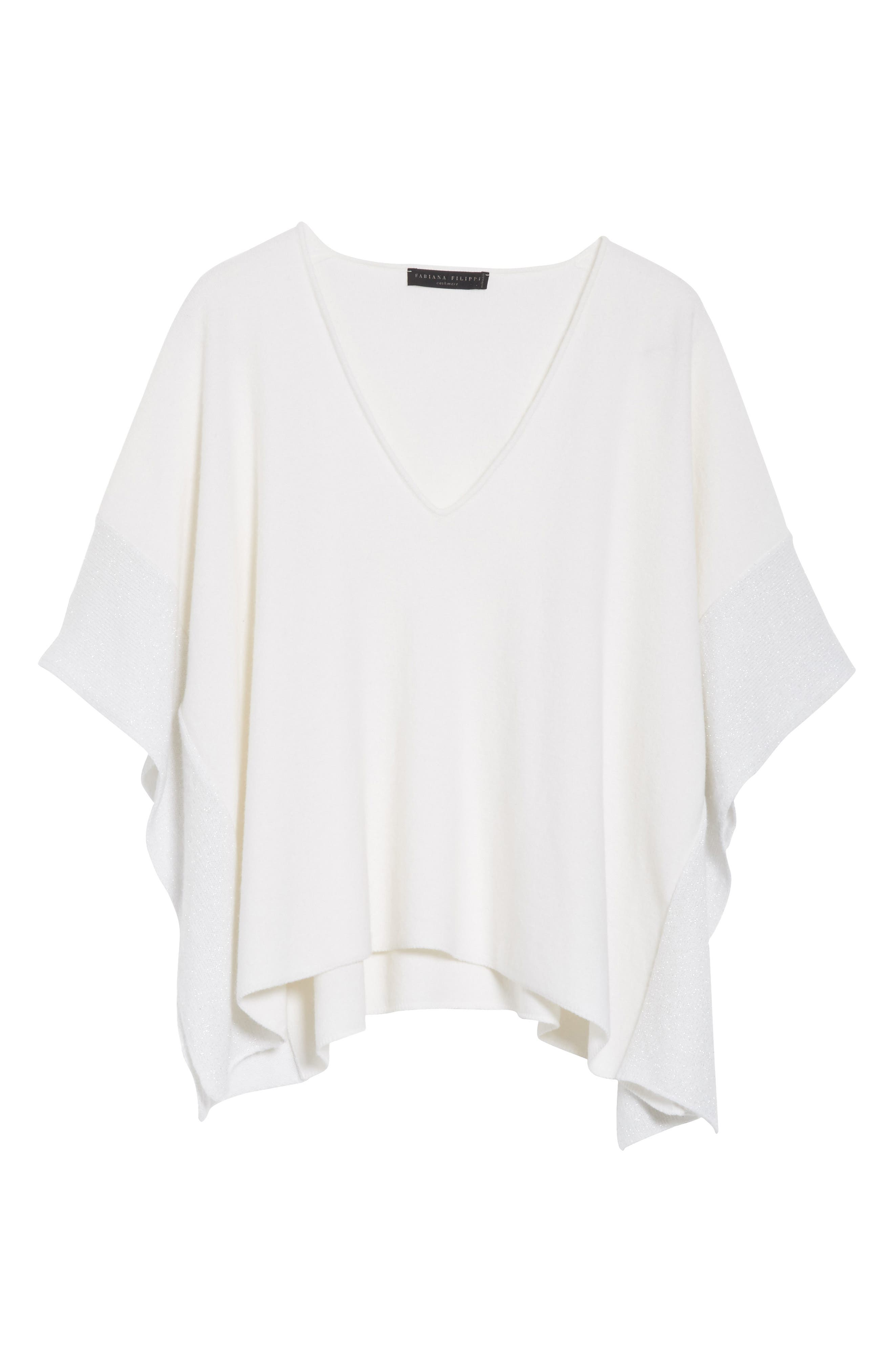 Metallic Cashmere Flutter Sleeve Poncho Sweater,                             Alternate thumbnail 7, color,                             Pure White