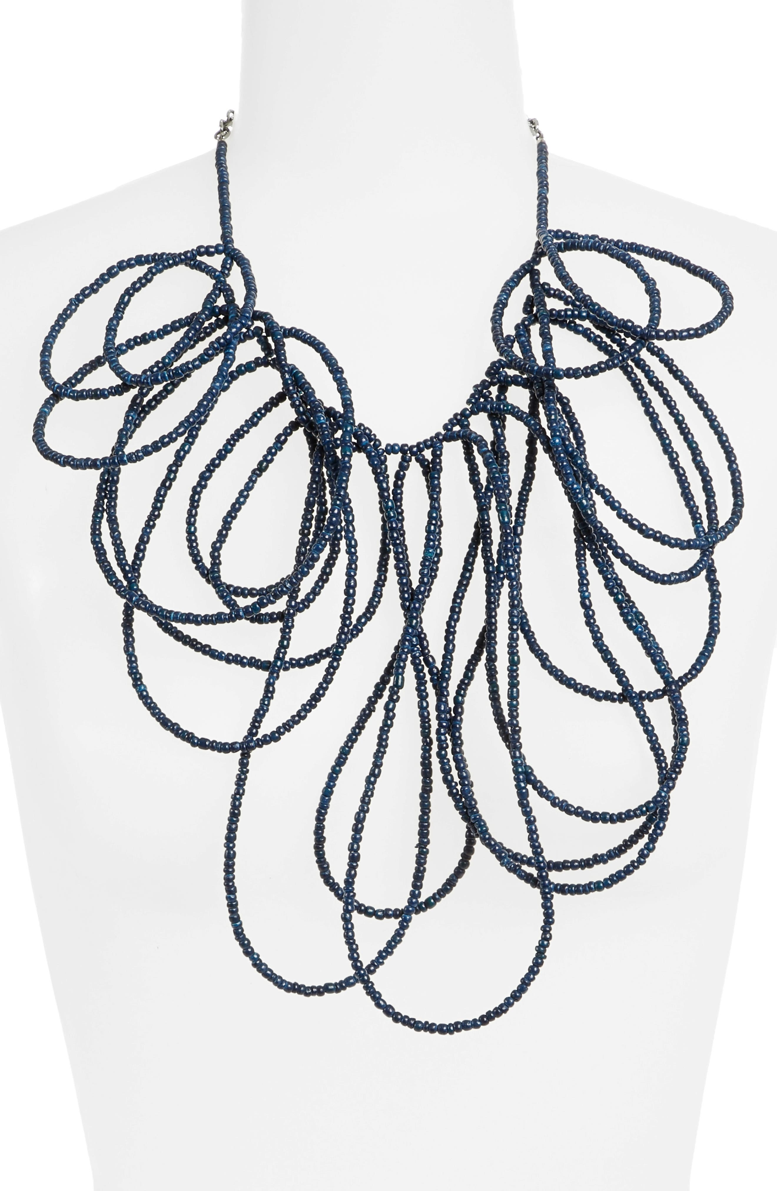 Coconut Bead Multiloop Necklace,                             Alternate thumbnail 2, color,                             Navy