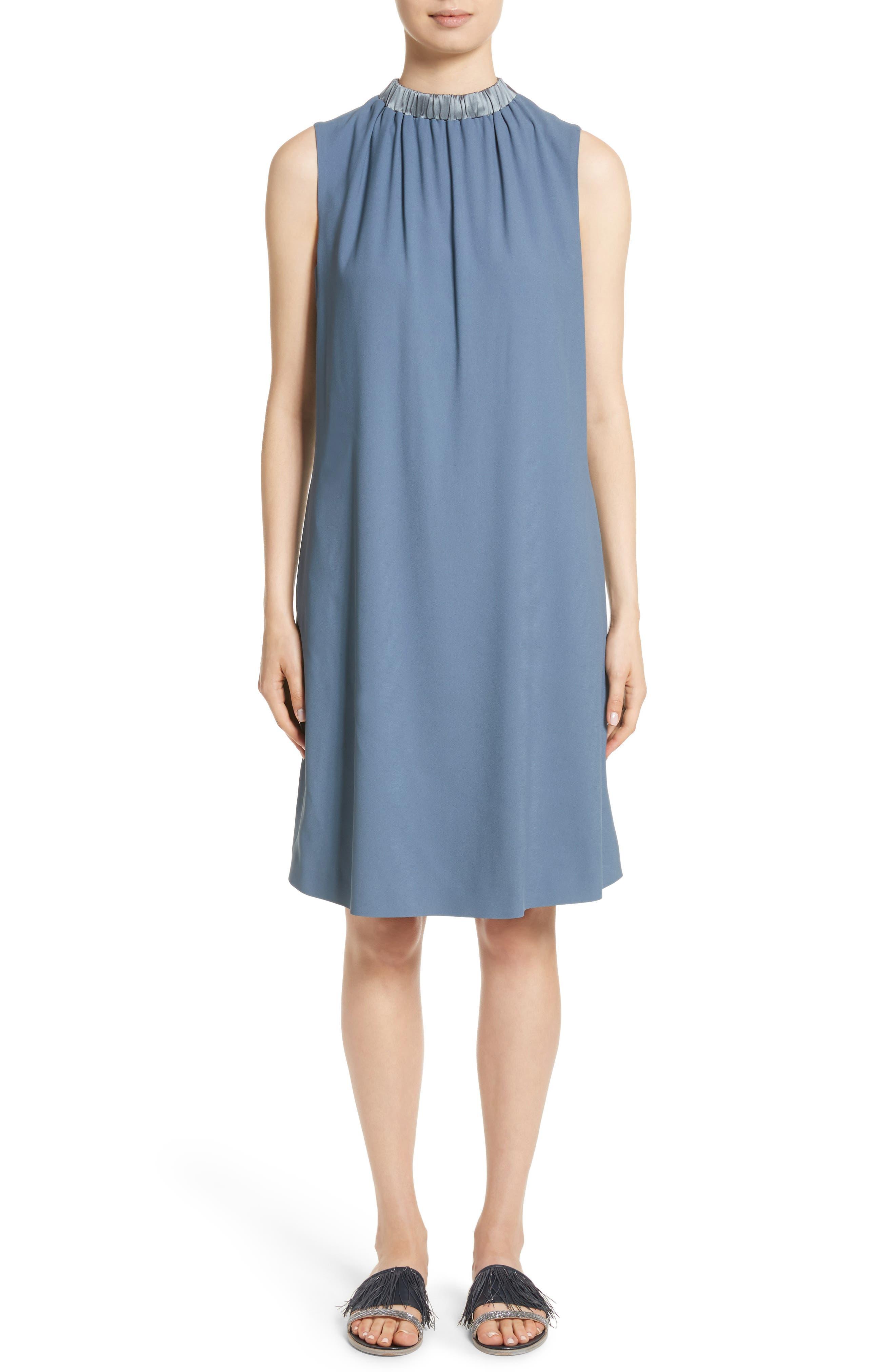 Satin Trim Crepe Dress,                         Main,                         color, Dusty Blue