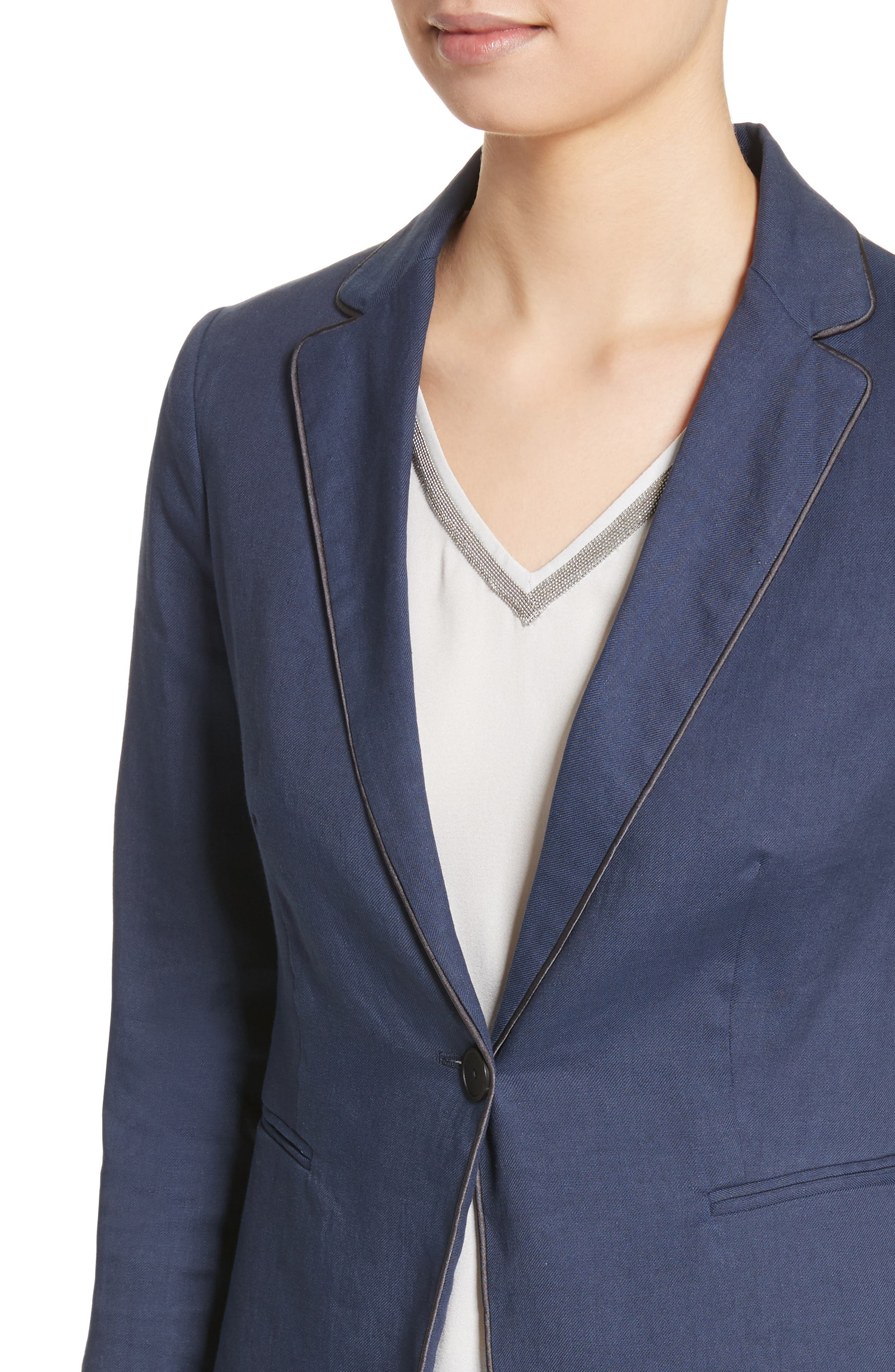 Piped Linen & Cotton Blend Blazer,                             Alternate thumbnail 4, color,                             Navy