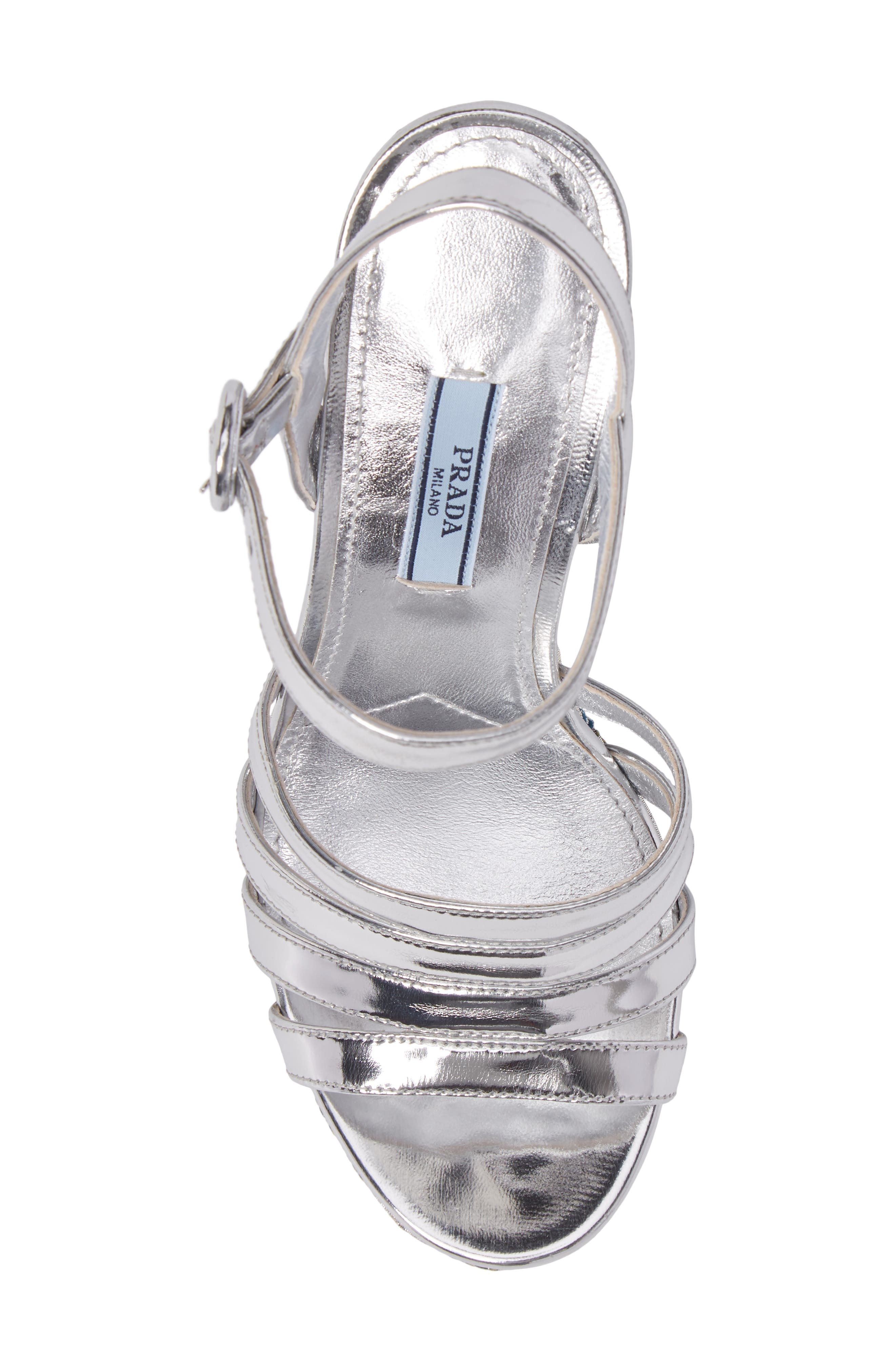 Floral Wedge Platform Sandals,                             Alternate thumbnail 5, color,                             Silver/ Blue