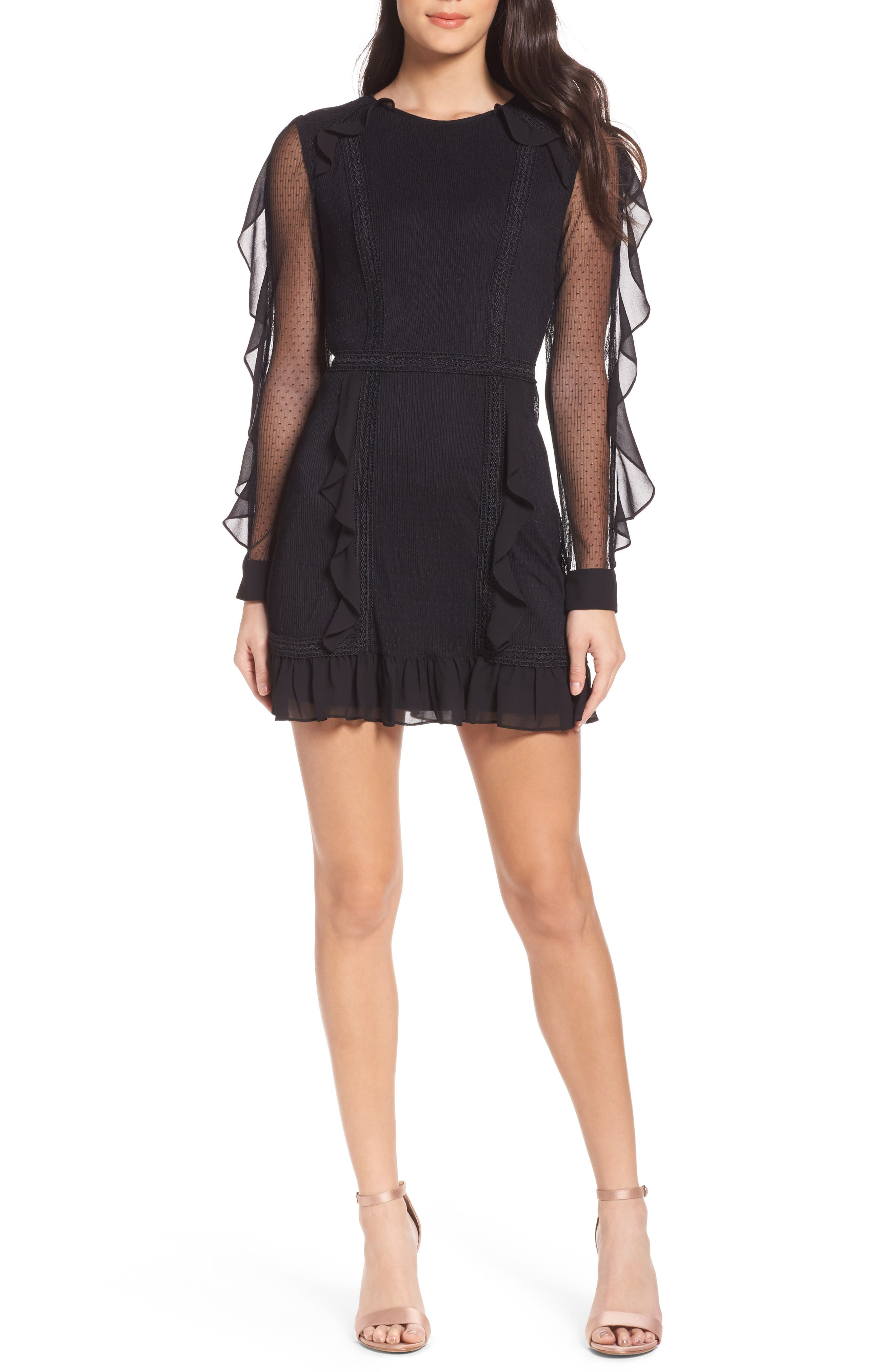 Faith Chiffon & Mesh Minidress,                             Main thumbnail 1, color,                             Black