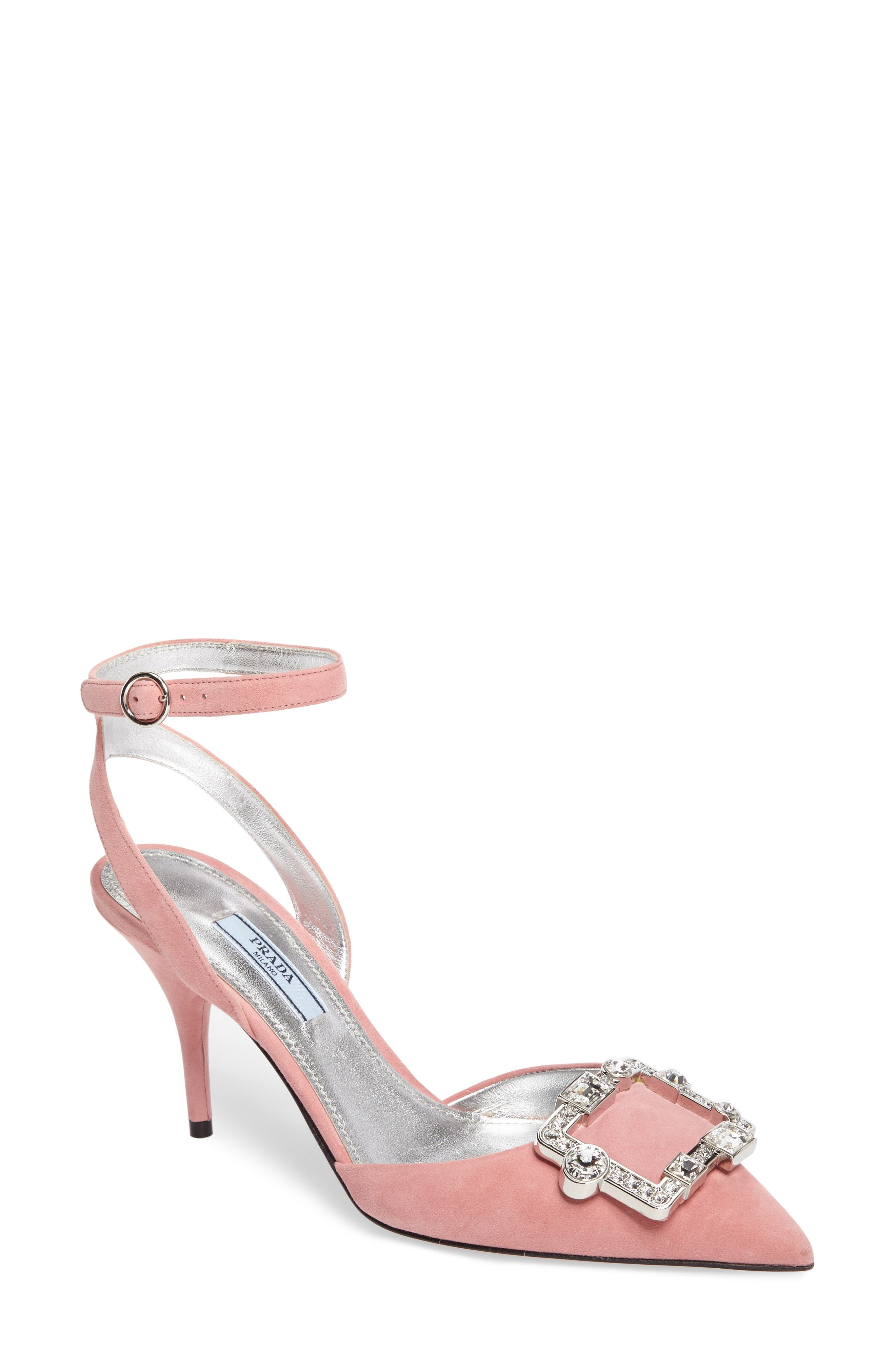Prada Crystal Brooch Ankle Strap Pump (Women)