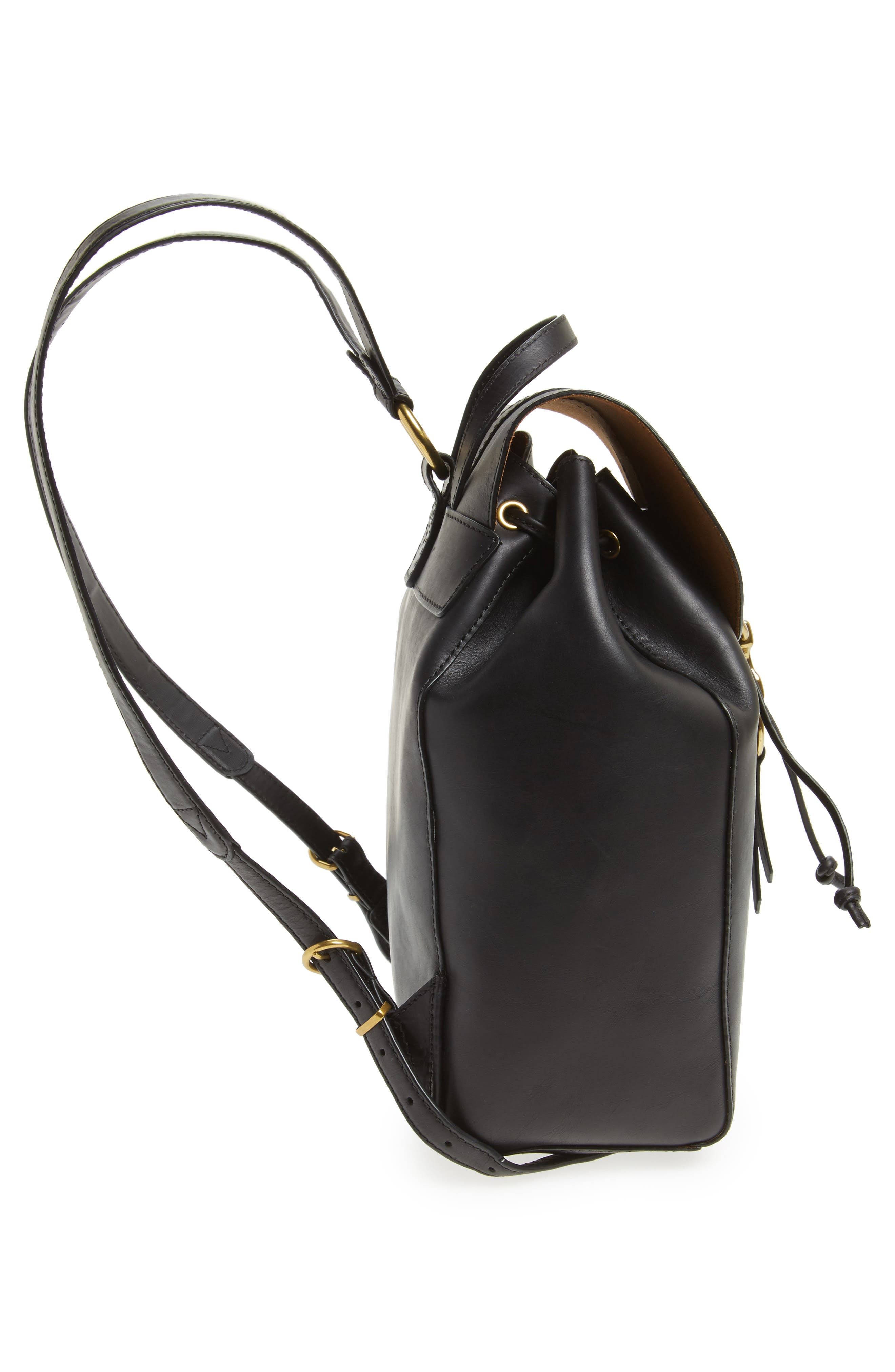 Ilana Harness Leather Backpack,                             Alternate thumbnail 3, color,                             Black