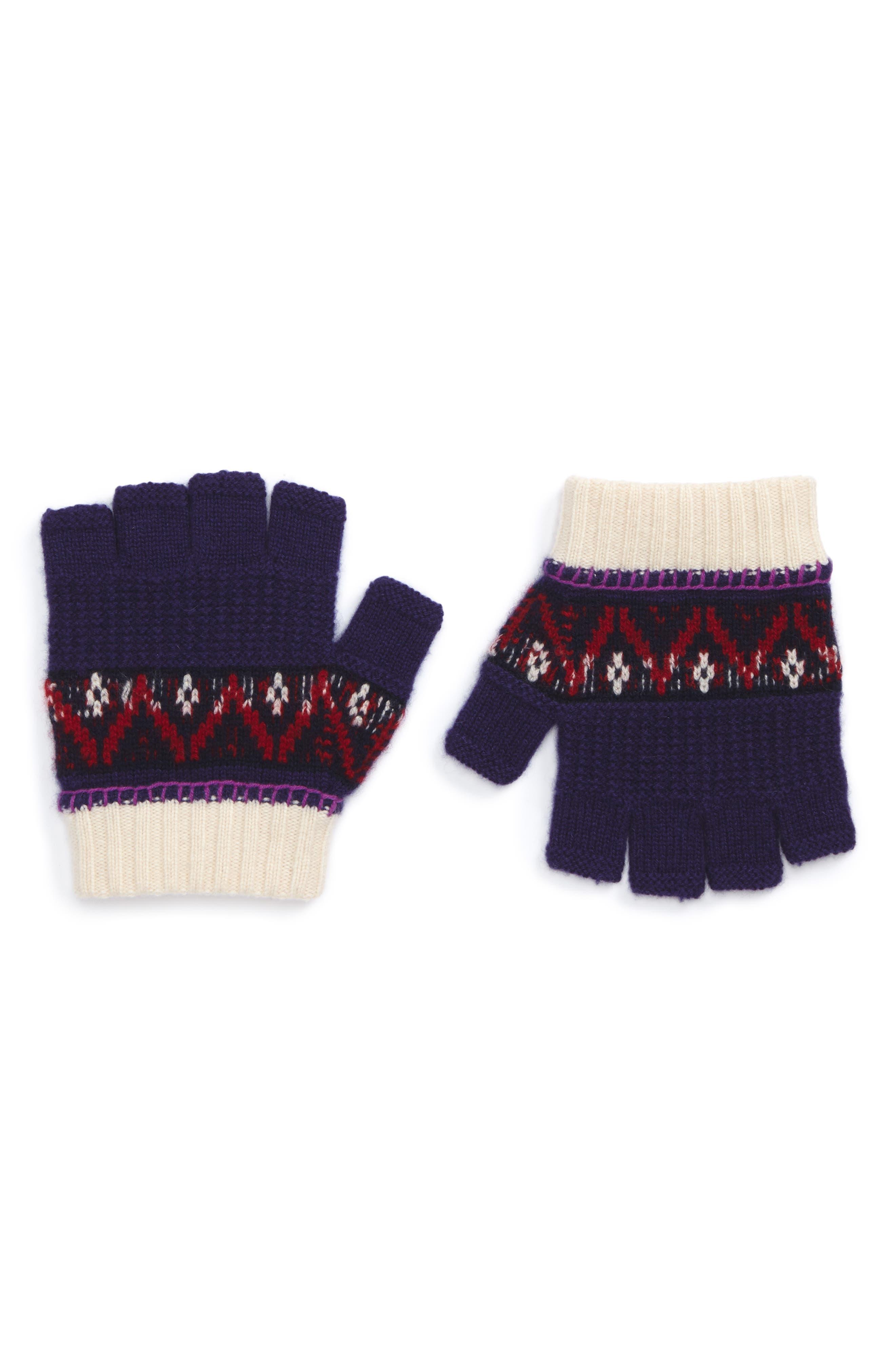 Main Image - Burberry Fair Isle Fingerless Gloves