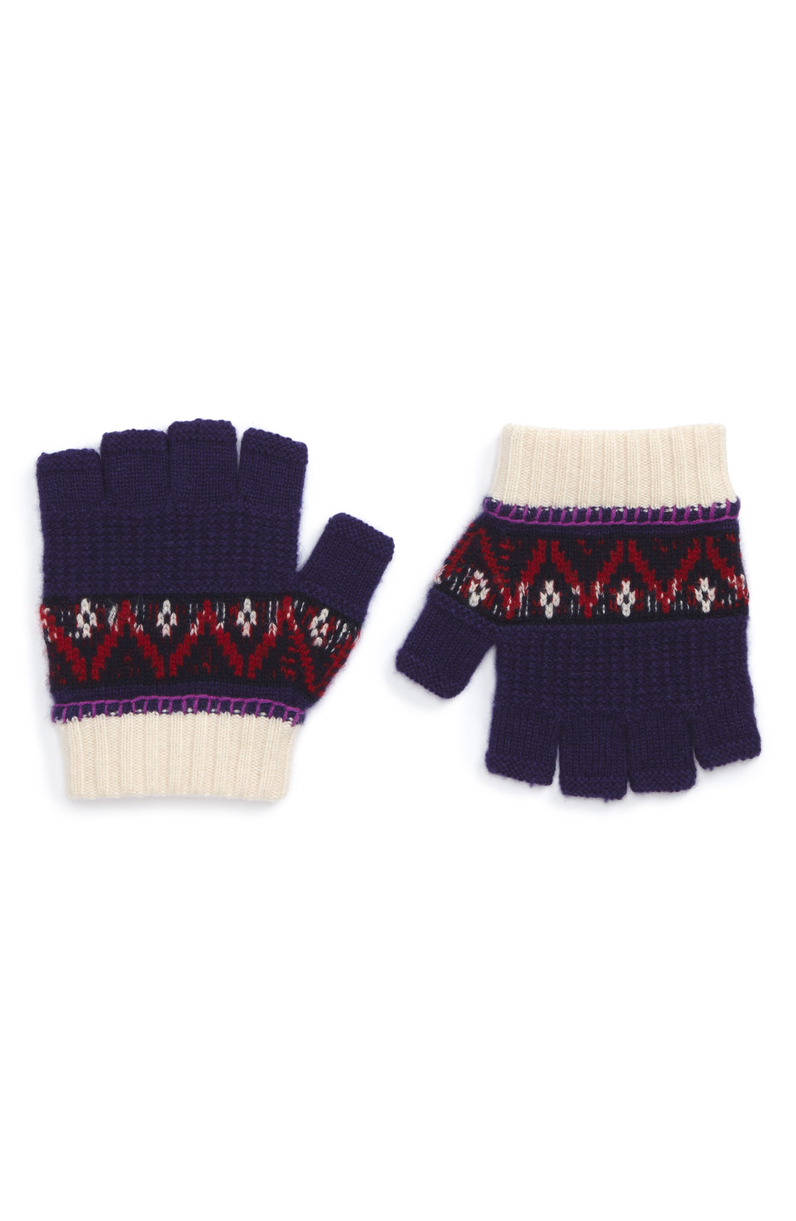 Fair Isle Fingerless Gloves,                         Main,                         color, Purple Grape