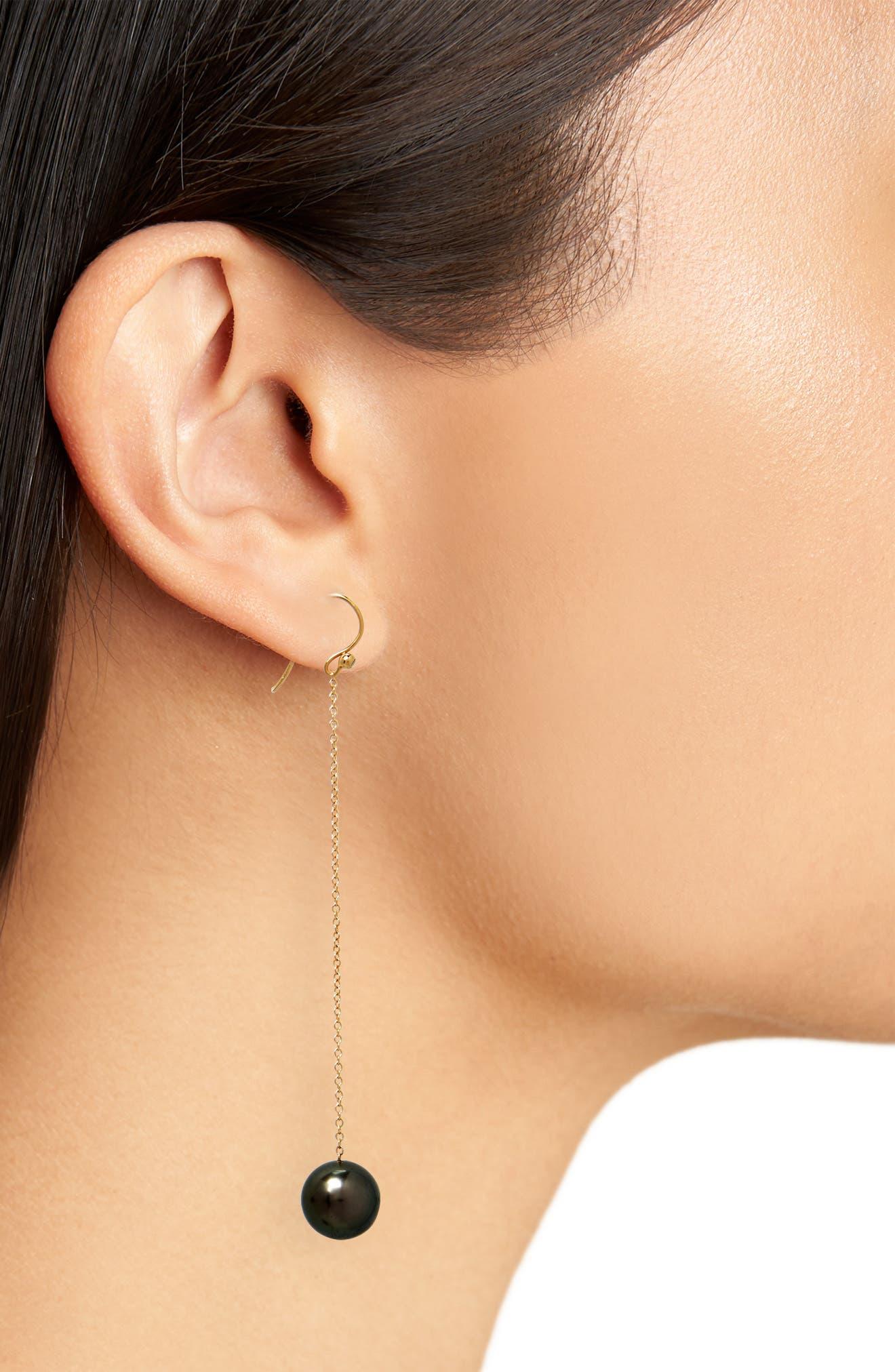 Tahitian Pearl Chain Drop Earrings,                             Alternate thumbnail 2, color,                             Yellow Gold/ Black Pearl