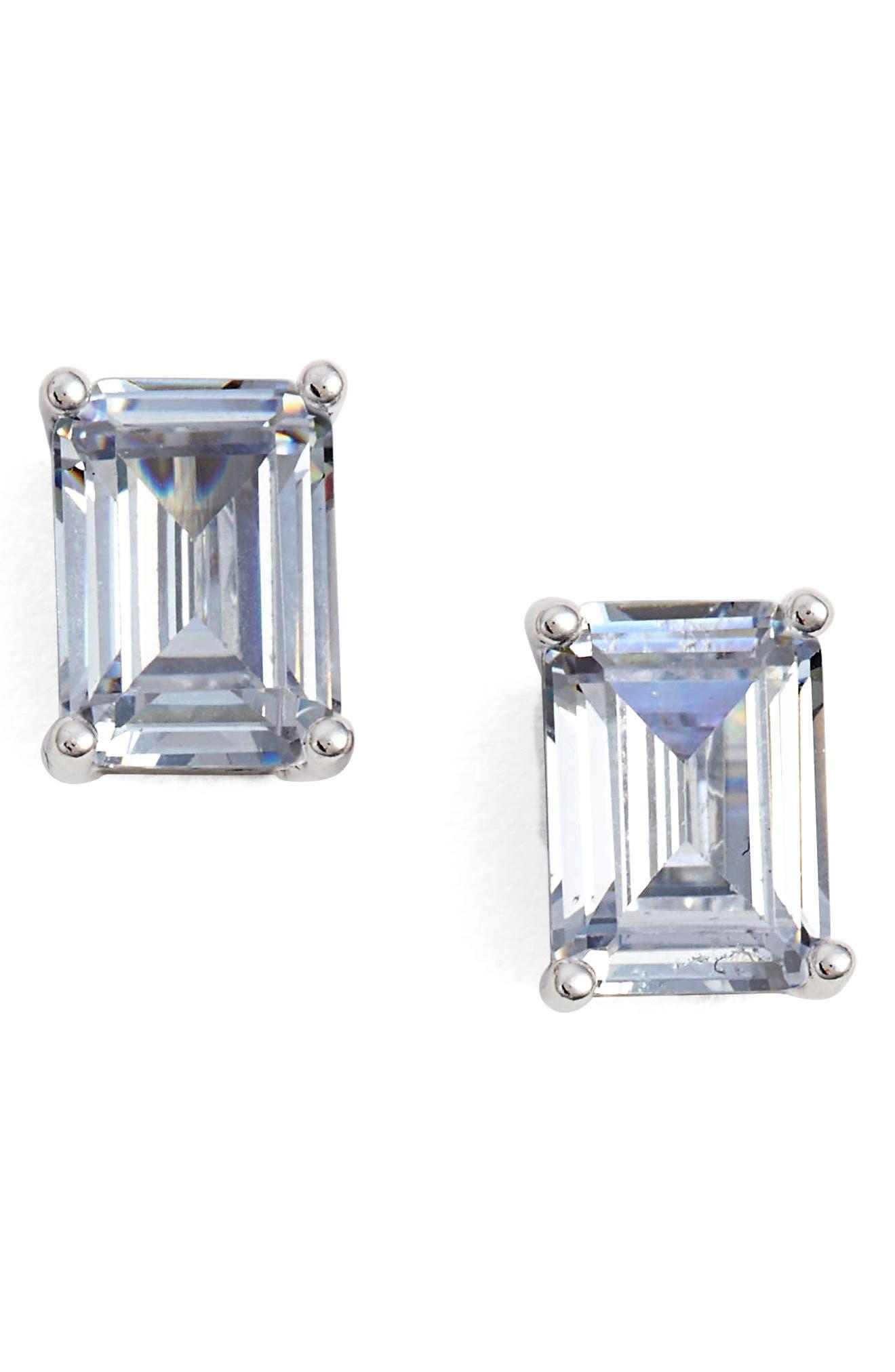 Alternate Image 1 Selected - Nordstrom Emerald Cut 2ct tw Cubic Zirconia Stud Earrings