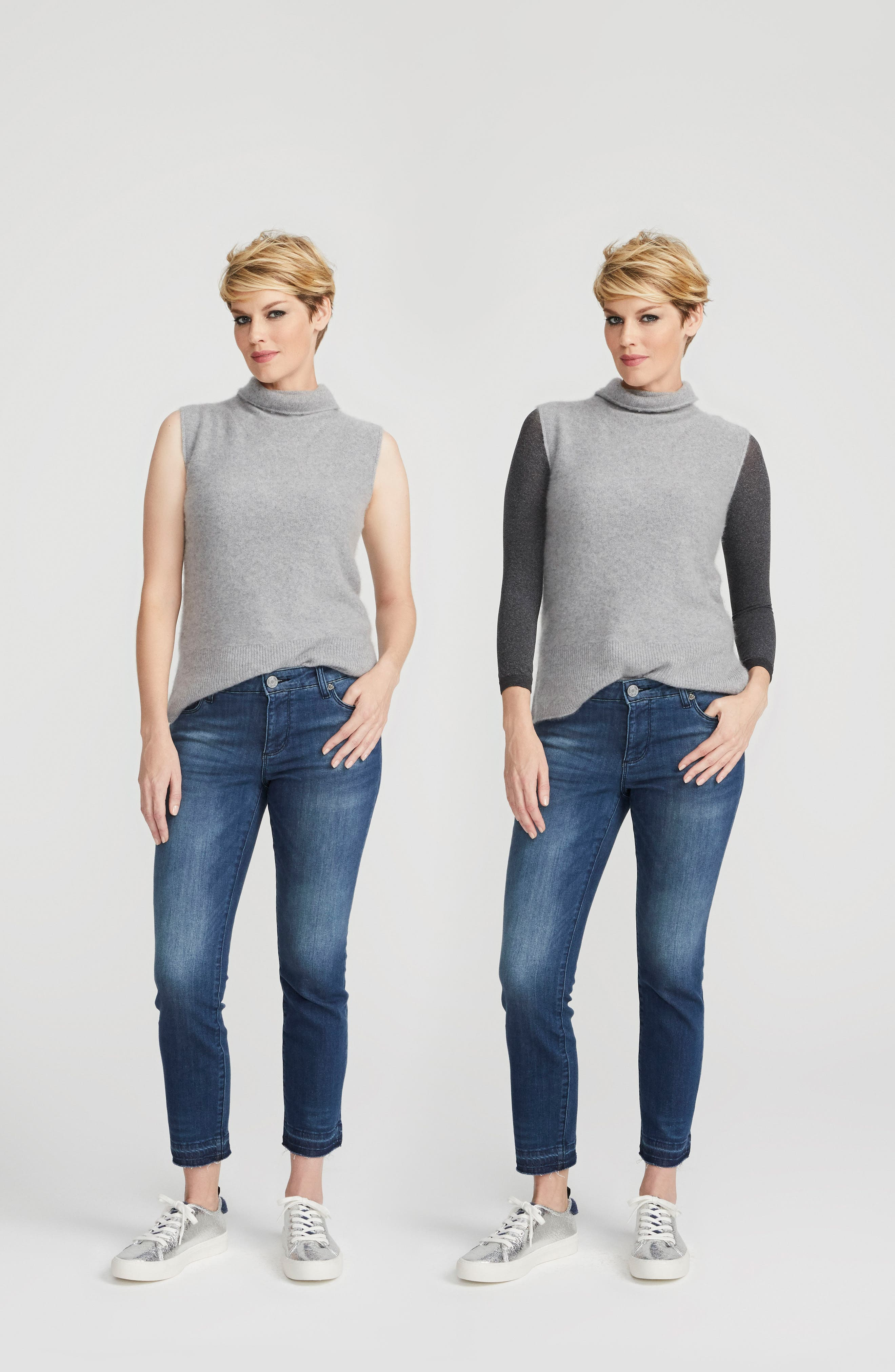 SPANX Arm Tights<sup>™</sup> Opaque Layering Top,                             Alternate thumbnail 8, color,                             Heather Grey