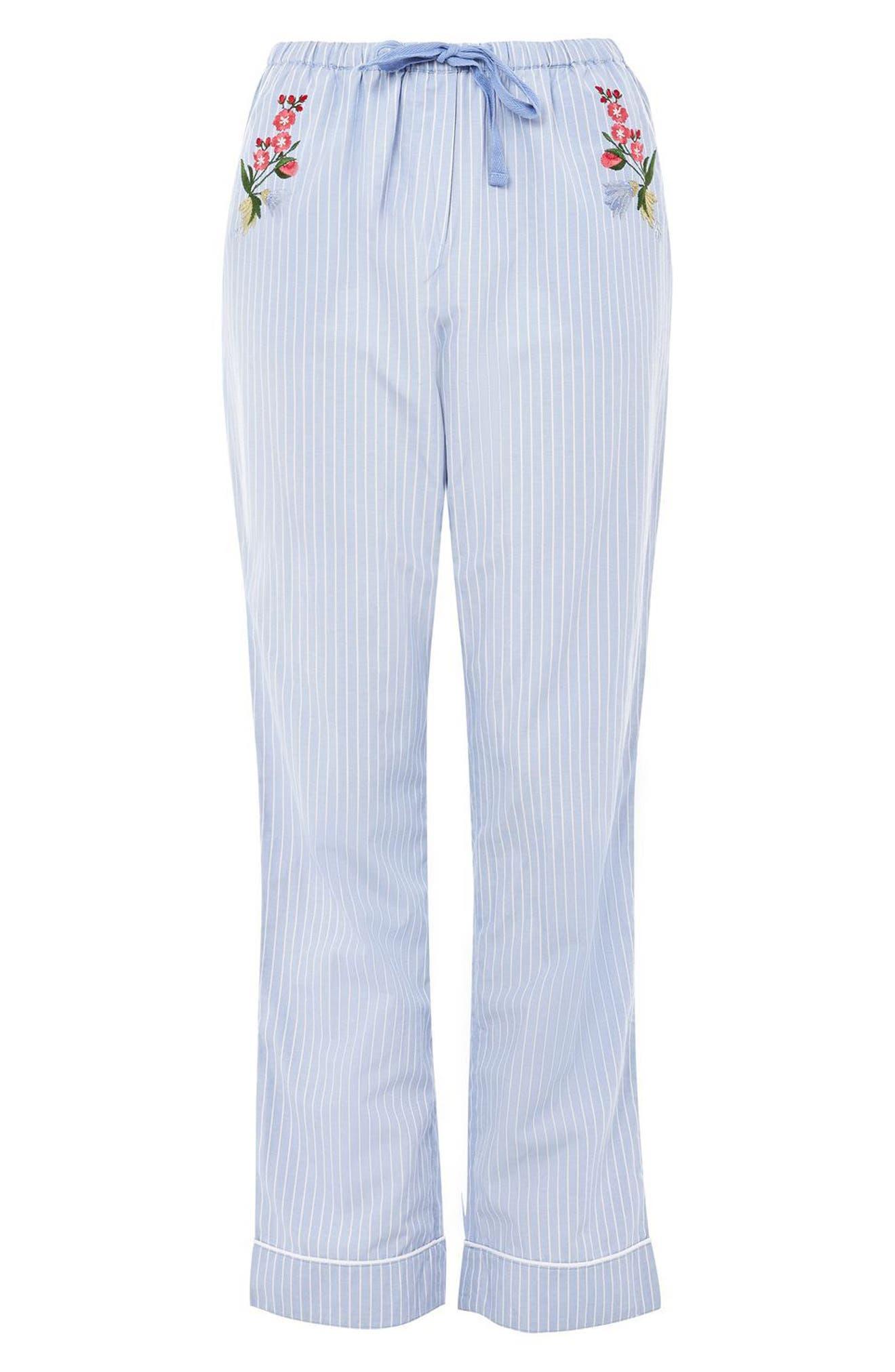 Floral Embroidered Stripe Pajama Pants,                             Alternate thumbnail 3, color,                             Blue Multi