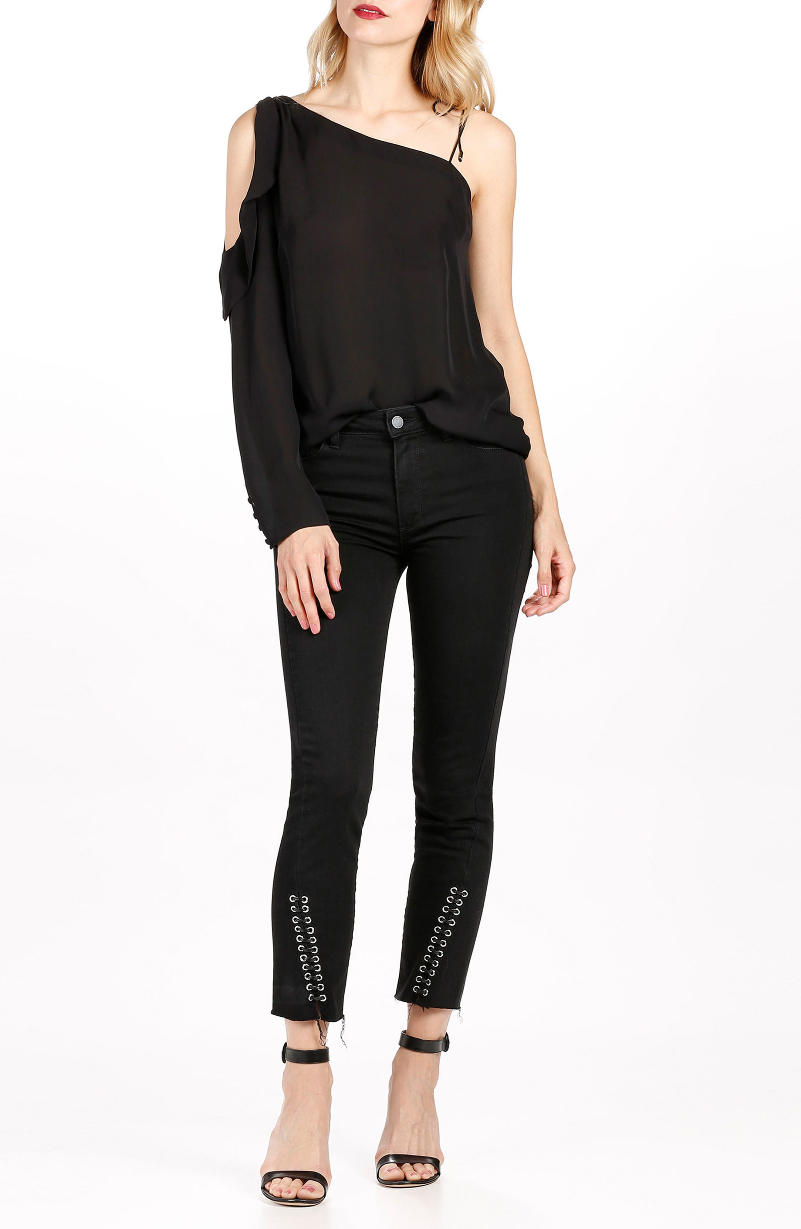 Alternate Image 2  - PAIGE Jacqueline High Waist Ankle Straight Leg Jeans (Onyx)