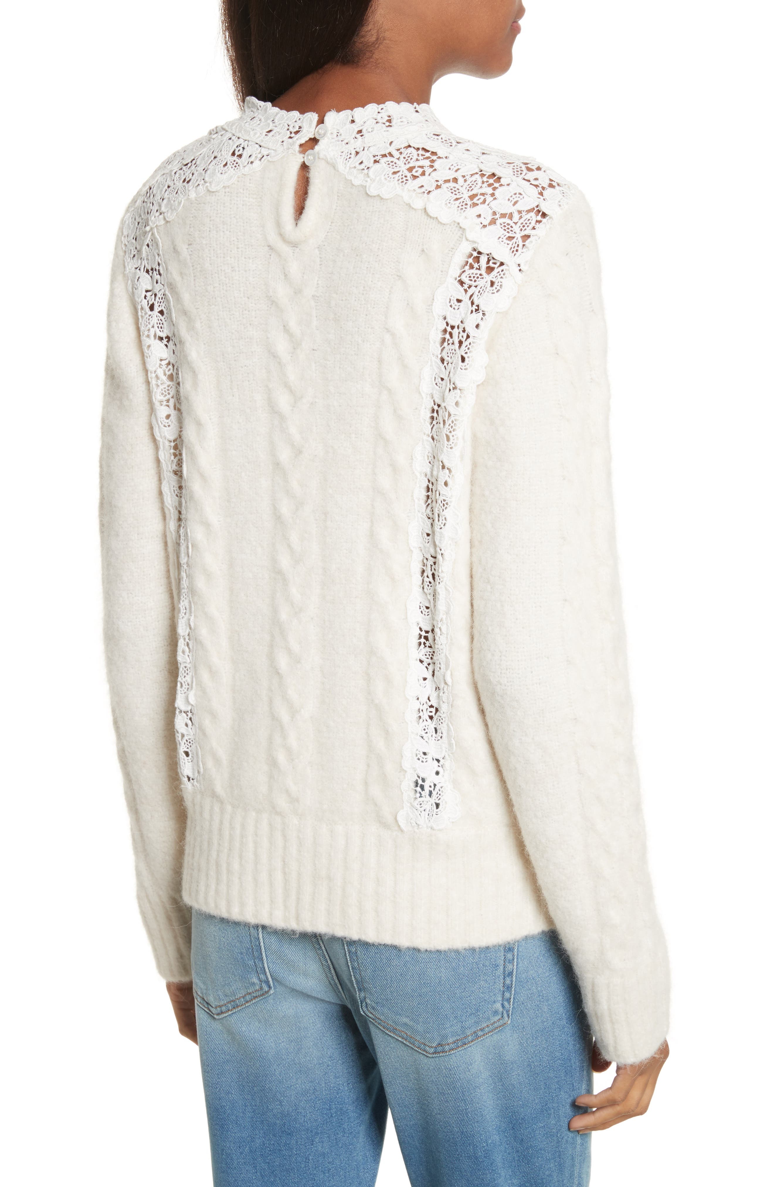 Lace Lace Inset Sweater,                             Alternate thumbnail 2, color,                             Cream