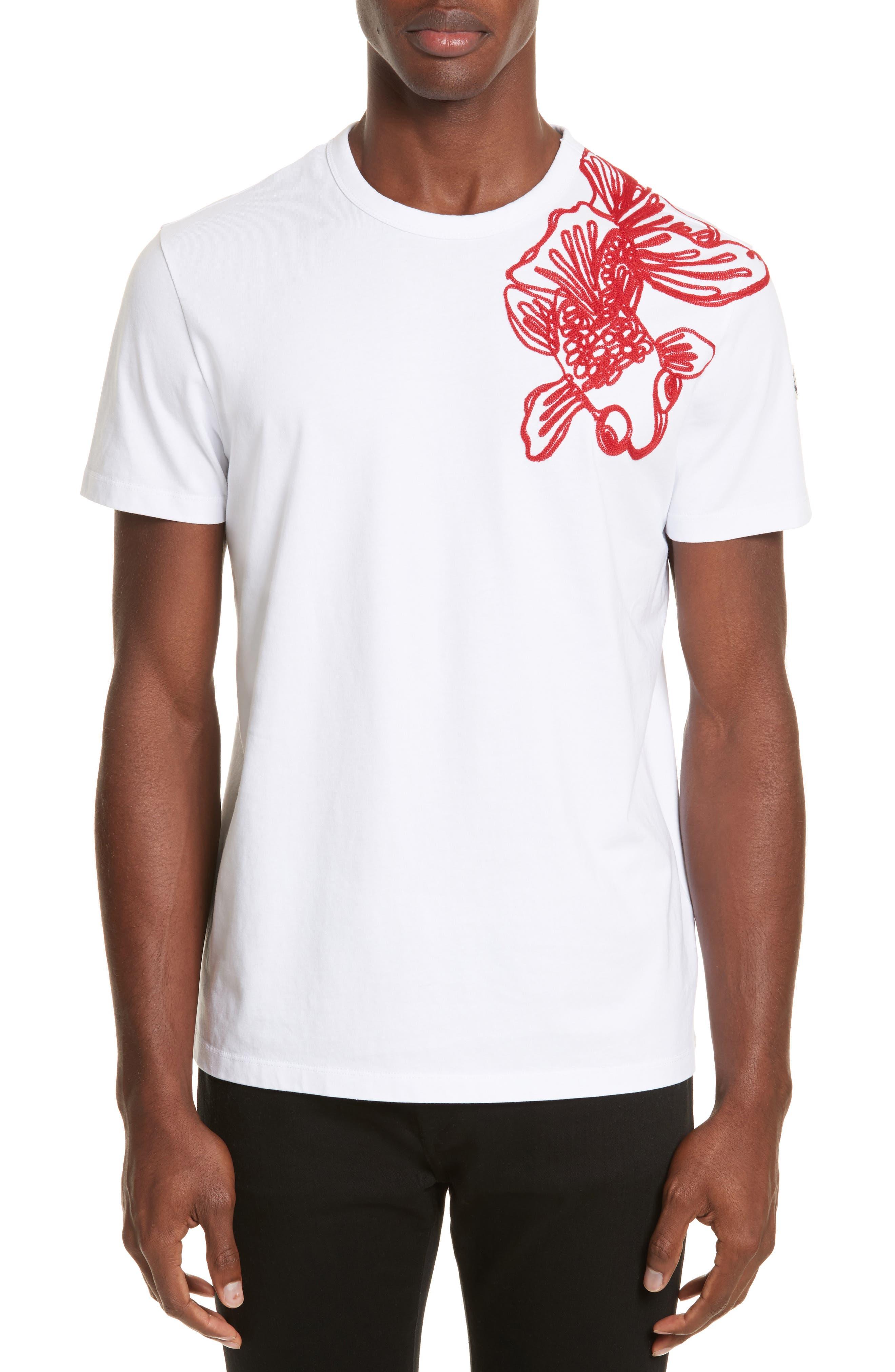 Embroidered Koi Fish T-Shirt,                             Main thumbnail 1, color,                             White
