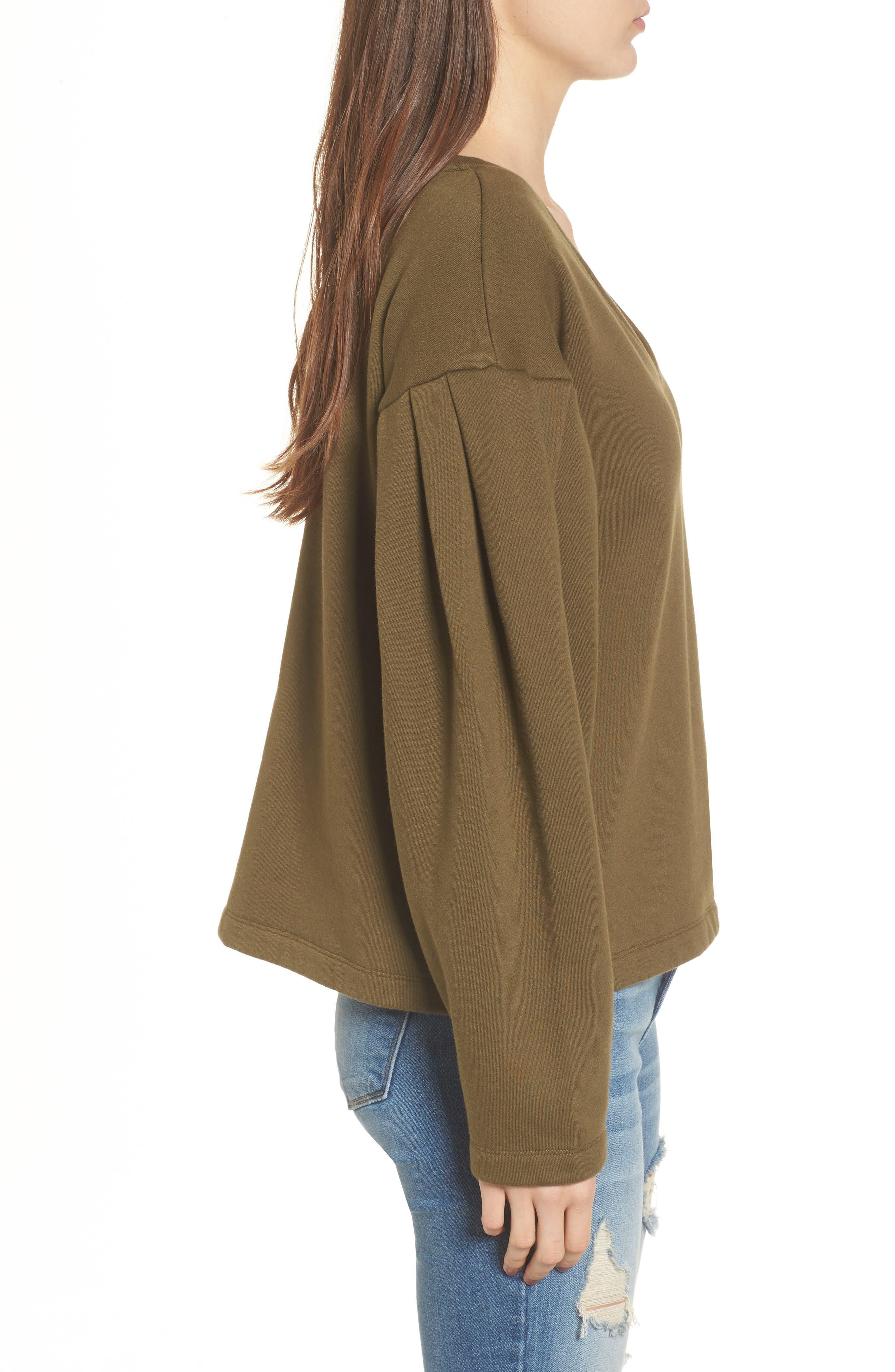 Pleat Sleeve Sweater,                             Alternate thumbnail 3, color,                             Olive Dark