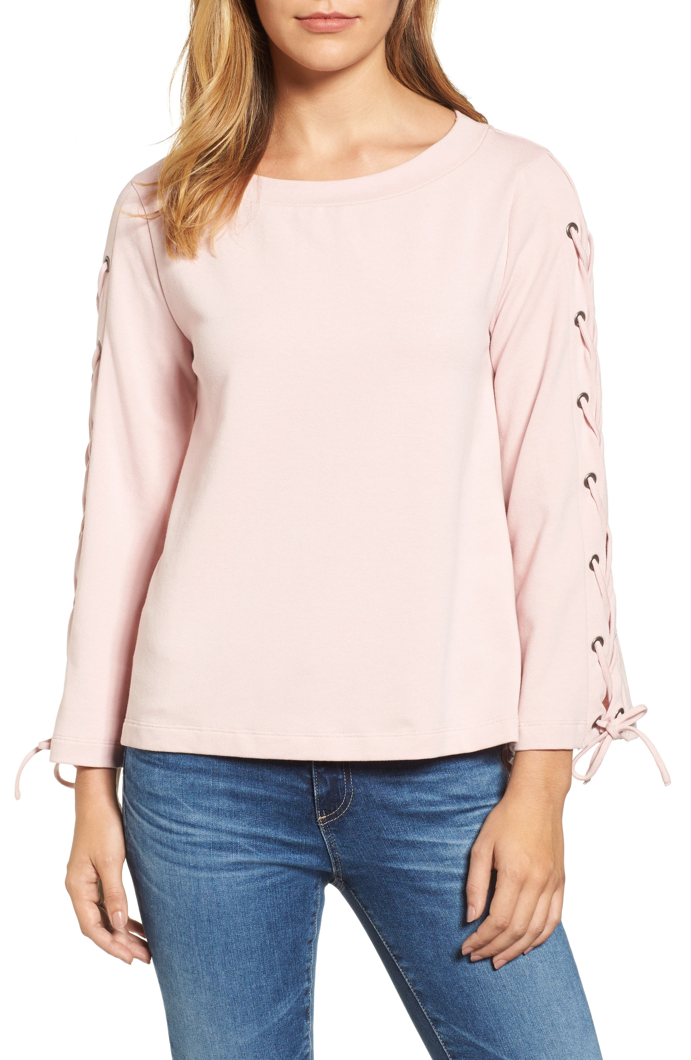 Wide Neck Lace-Up Sleeve Top,                         Main,                         color, Dusty Pink