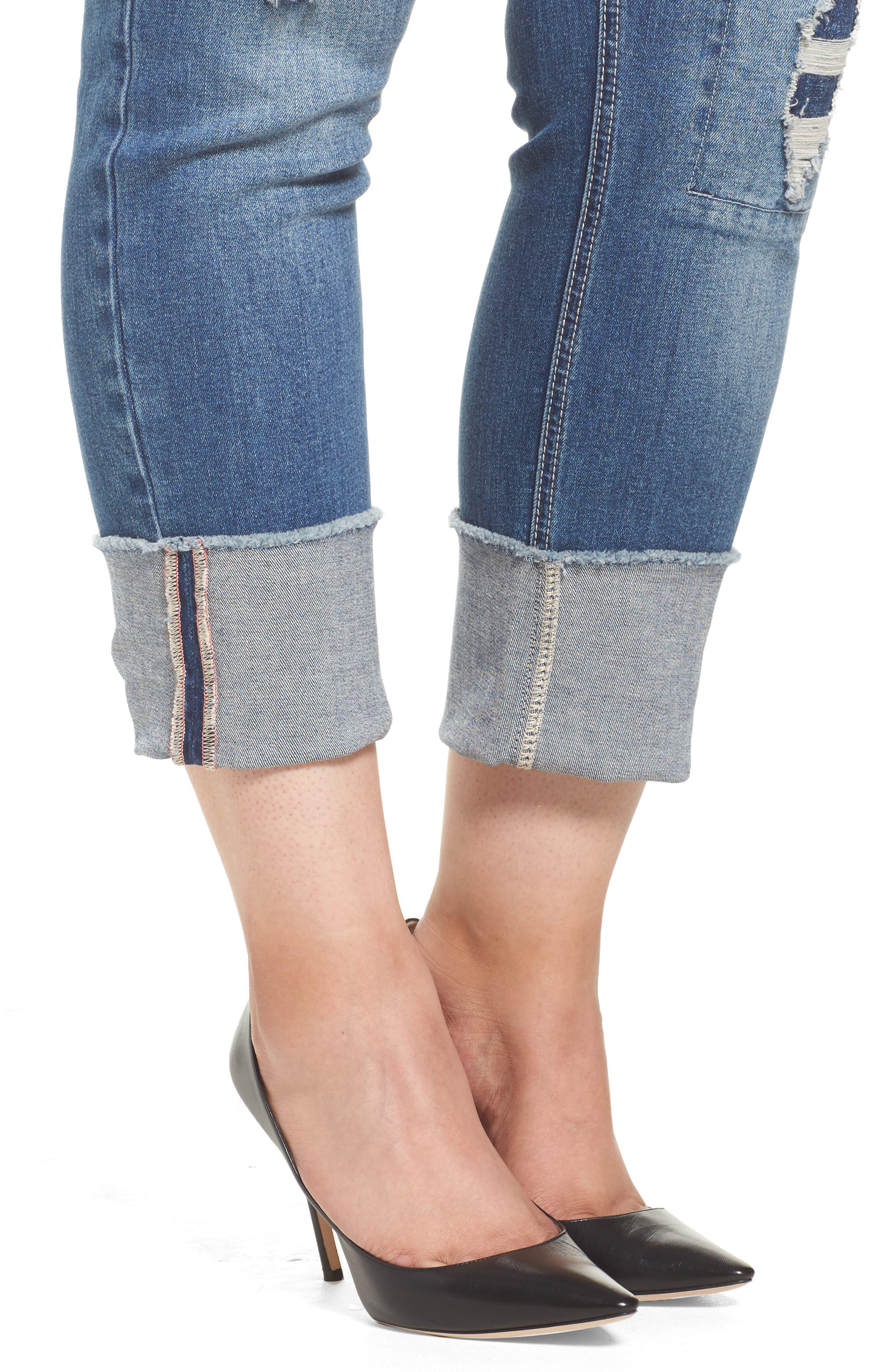 Alternate Image 4  - Seven7 Distressed Slim Raw Hem Cuffed Jeans (Concorde) (Plus Size)