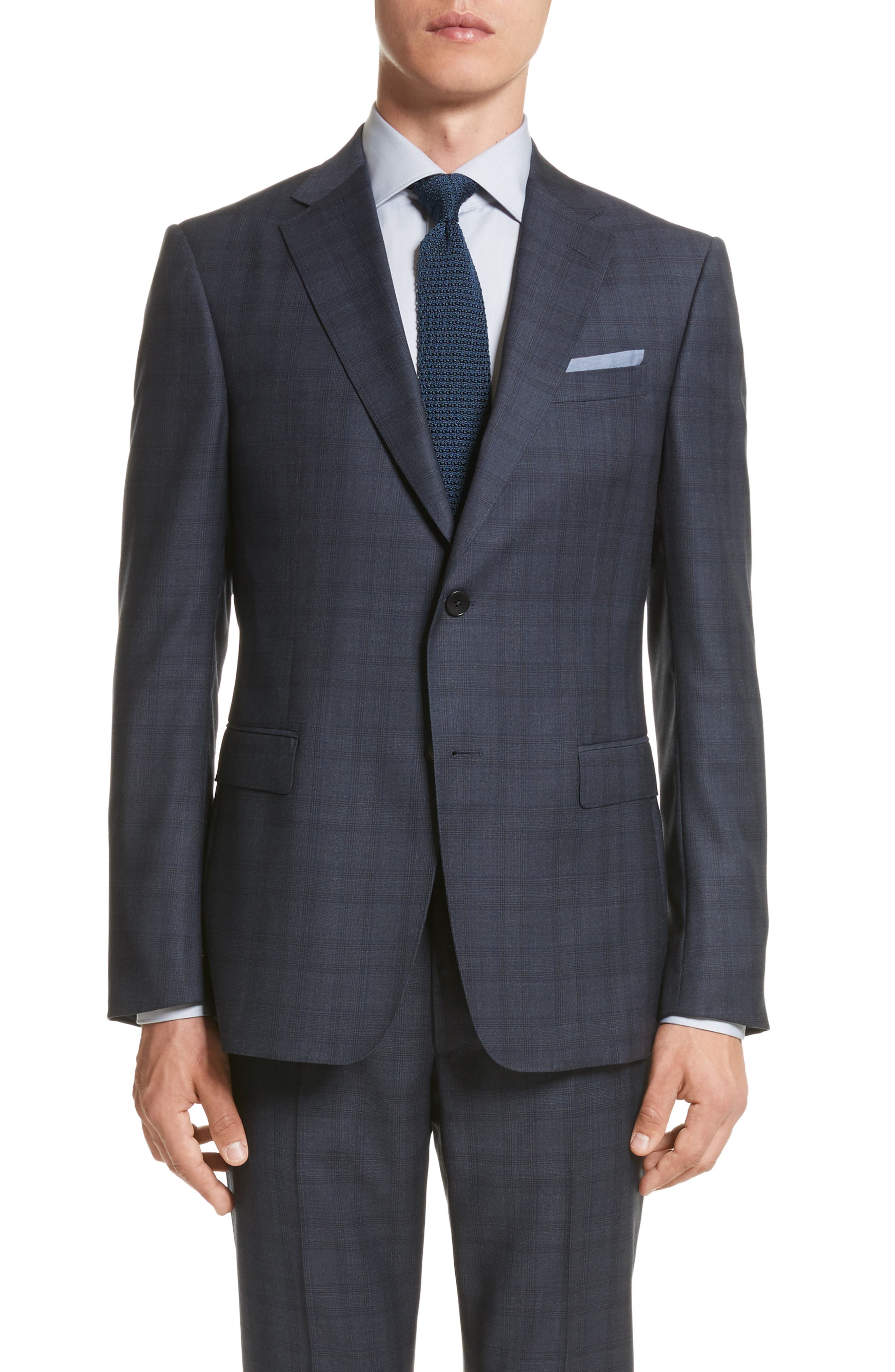 Classic Fit Check Wool Suit,                             Alternate thumbnail 5, color,                             Navy Check