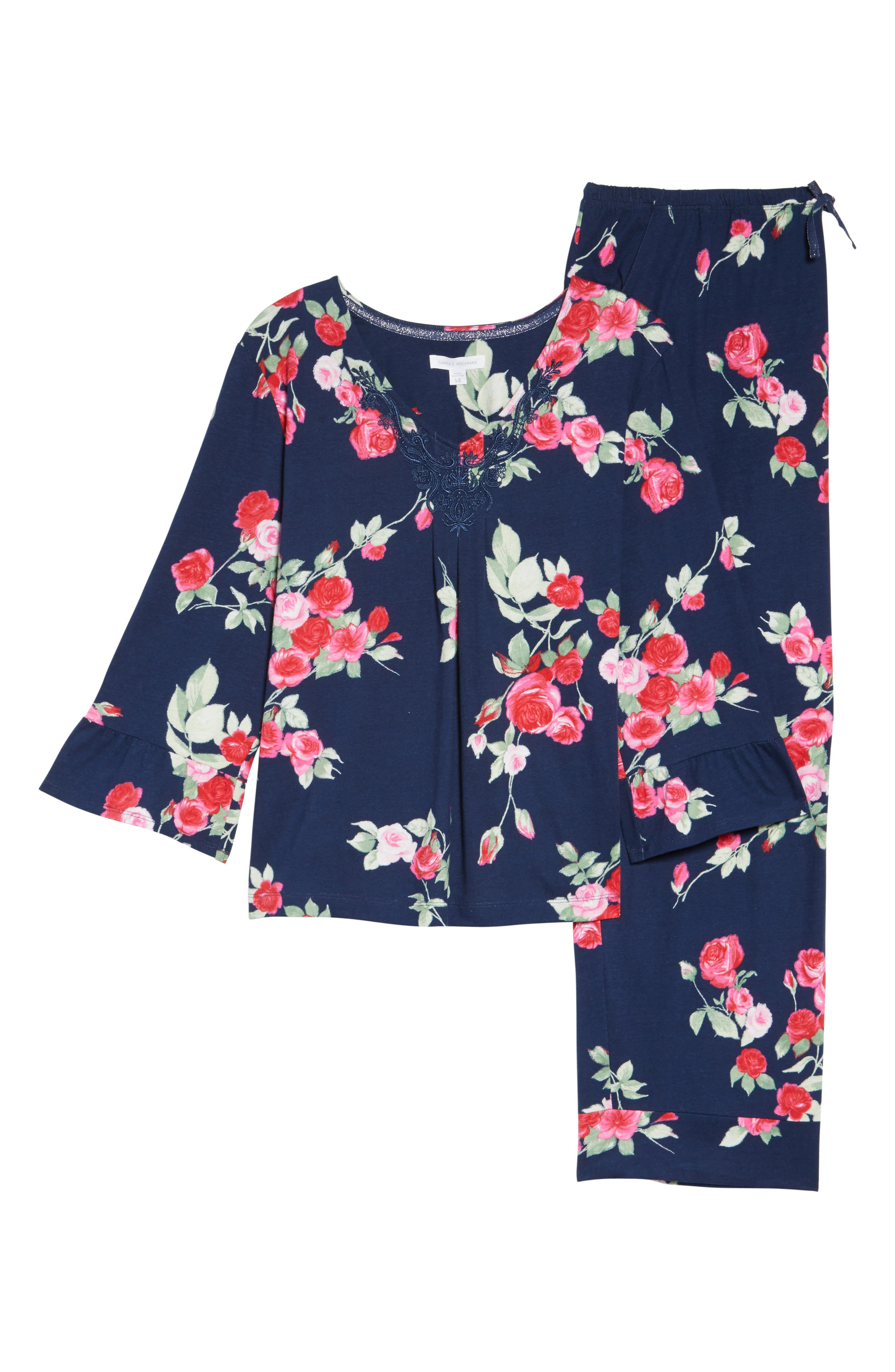 Floral Print Pajamas,                             Alternate thumbnail 4, color,                             Painted Rose