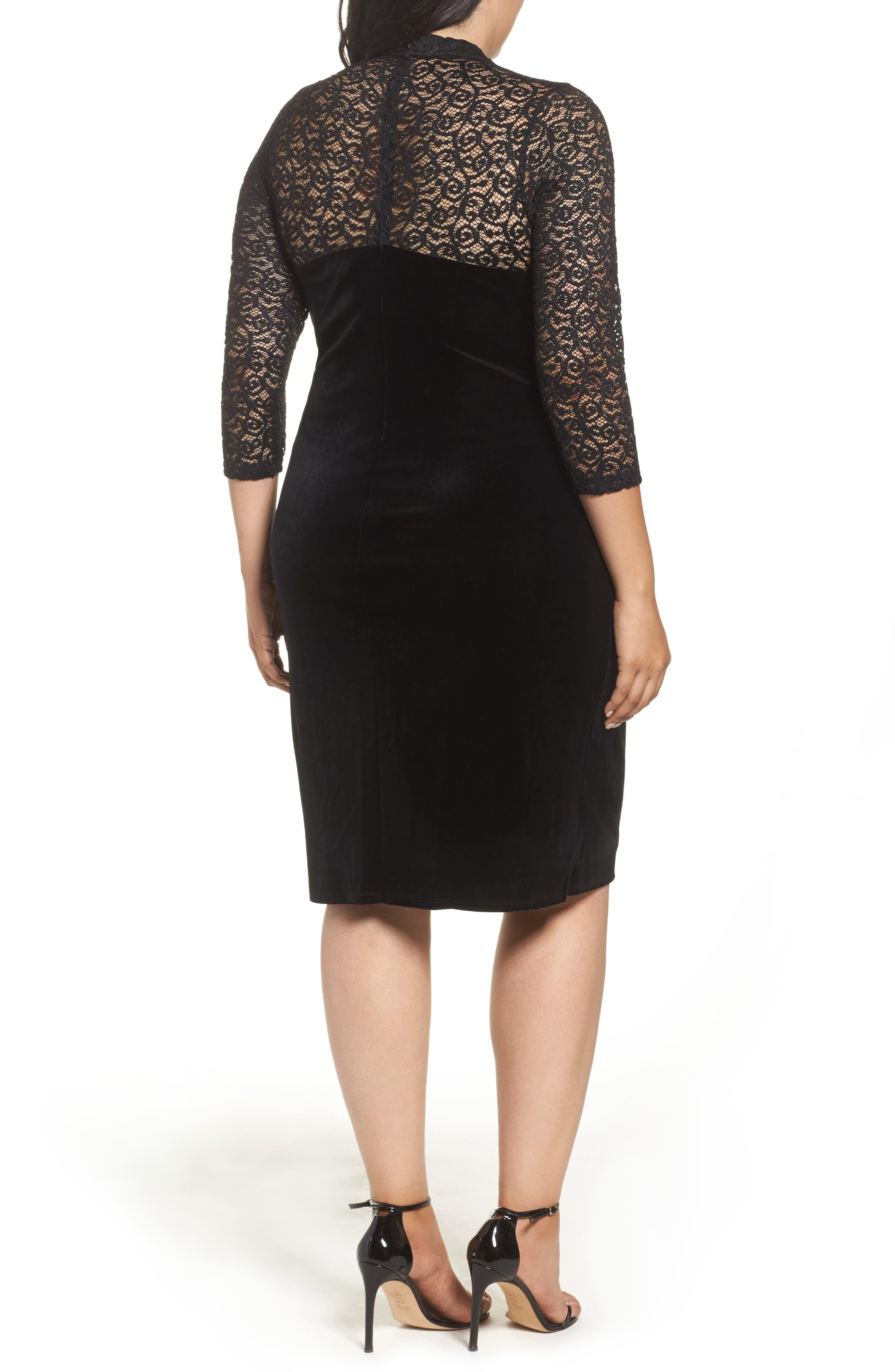Velvet & Glitter Lace Sheath Dress,                             Alternate thumbnail 2, color,                             Black