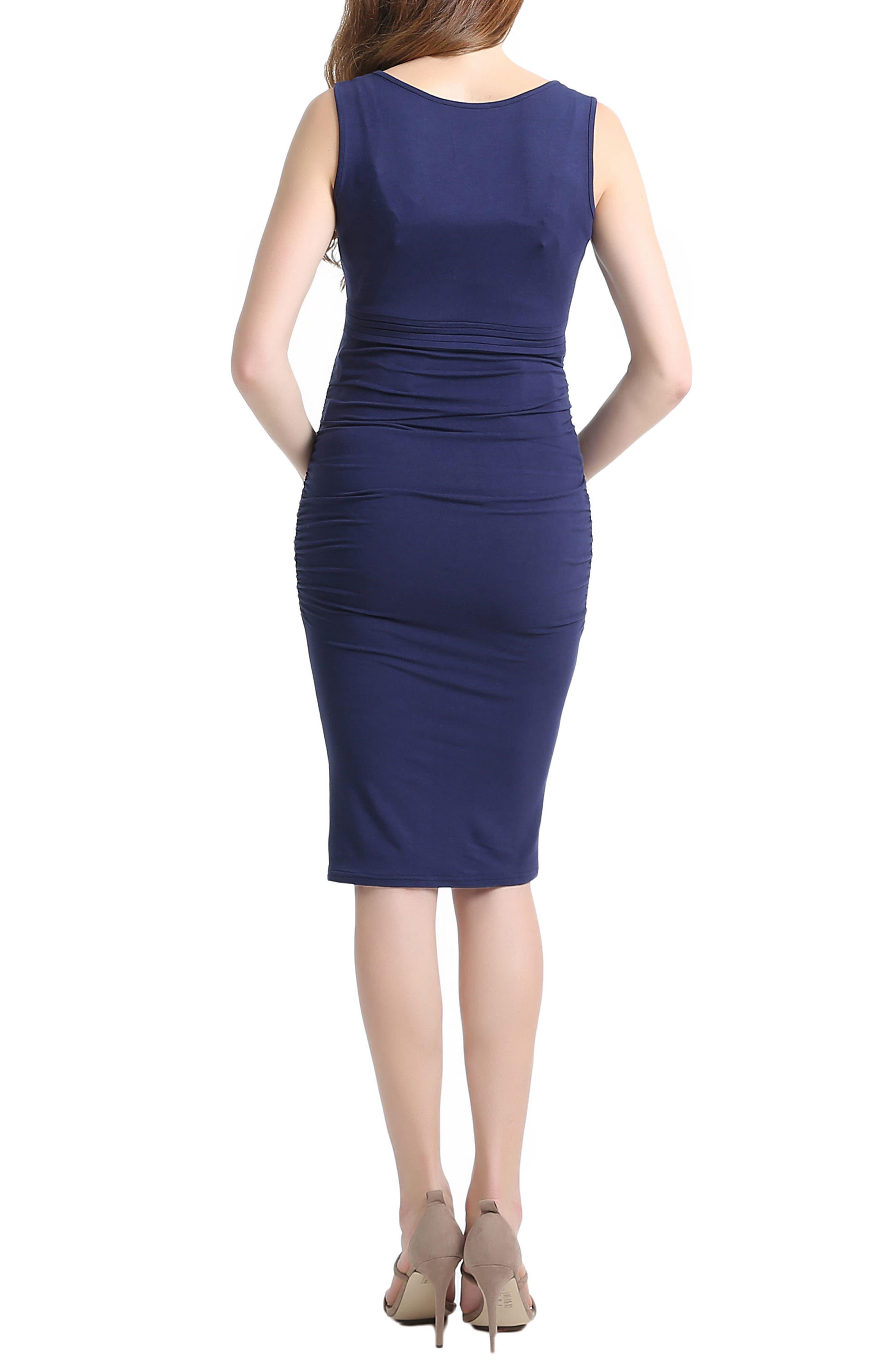 Niki Ruched Maternity Dress,                             Alternate thumbnail 2, color,                             Navy
