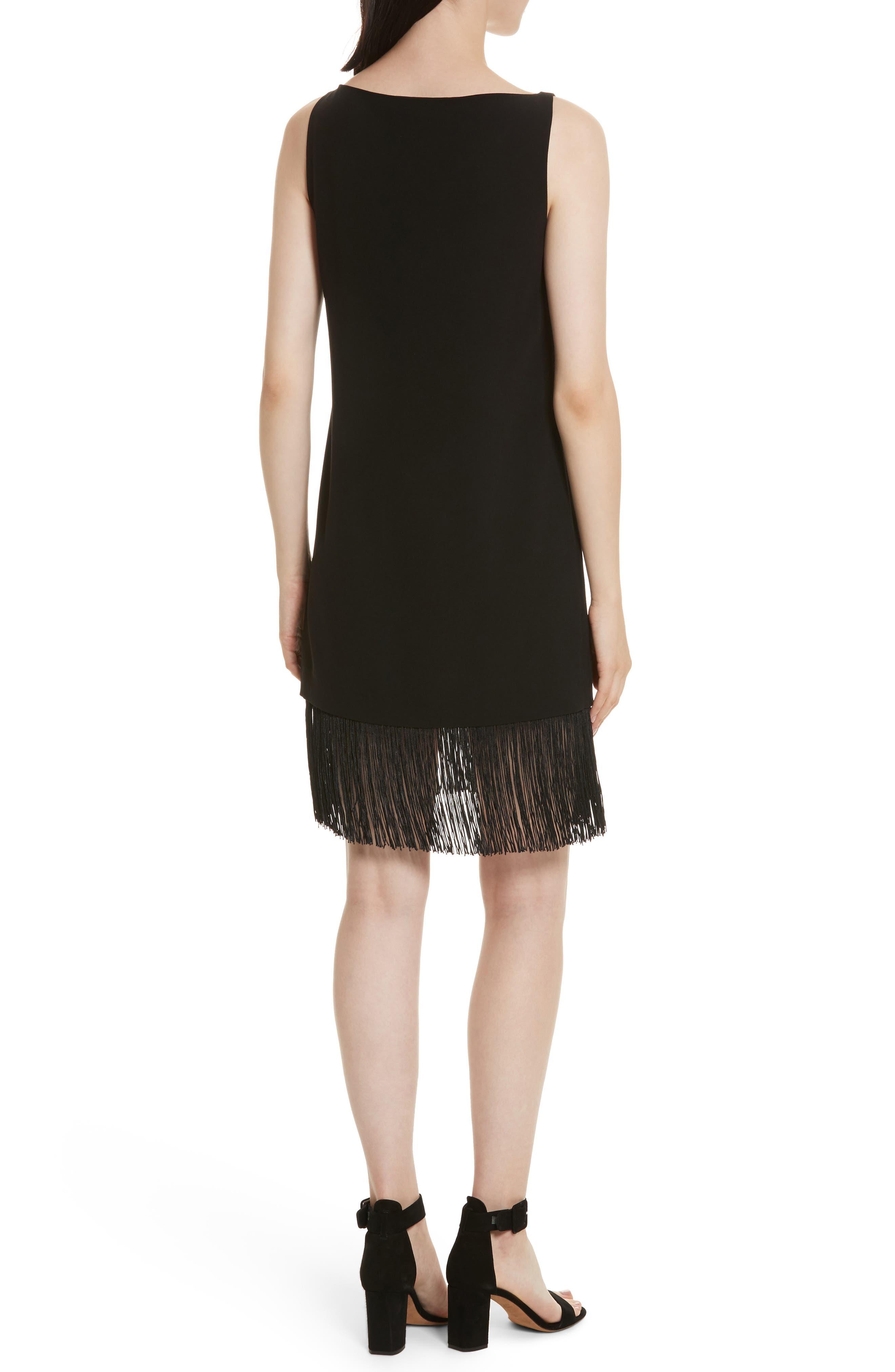 Ekon Fringe Hem Dress,                             Alternate thumbnail 2, color,                             Black