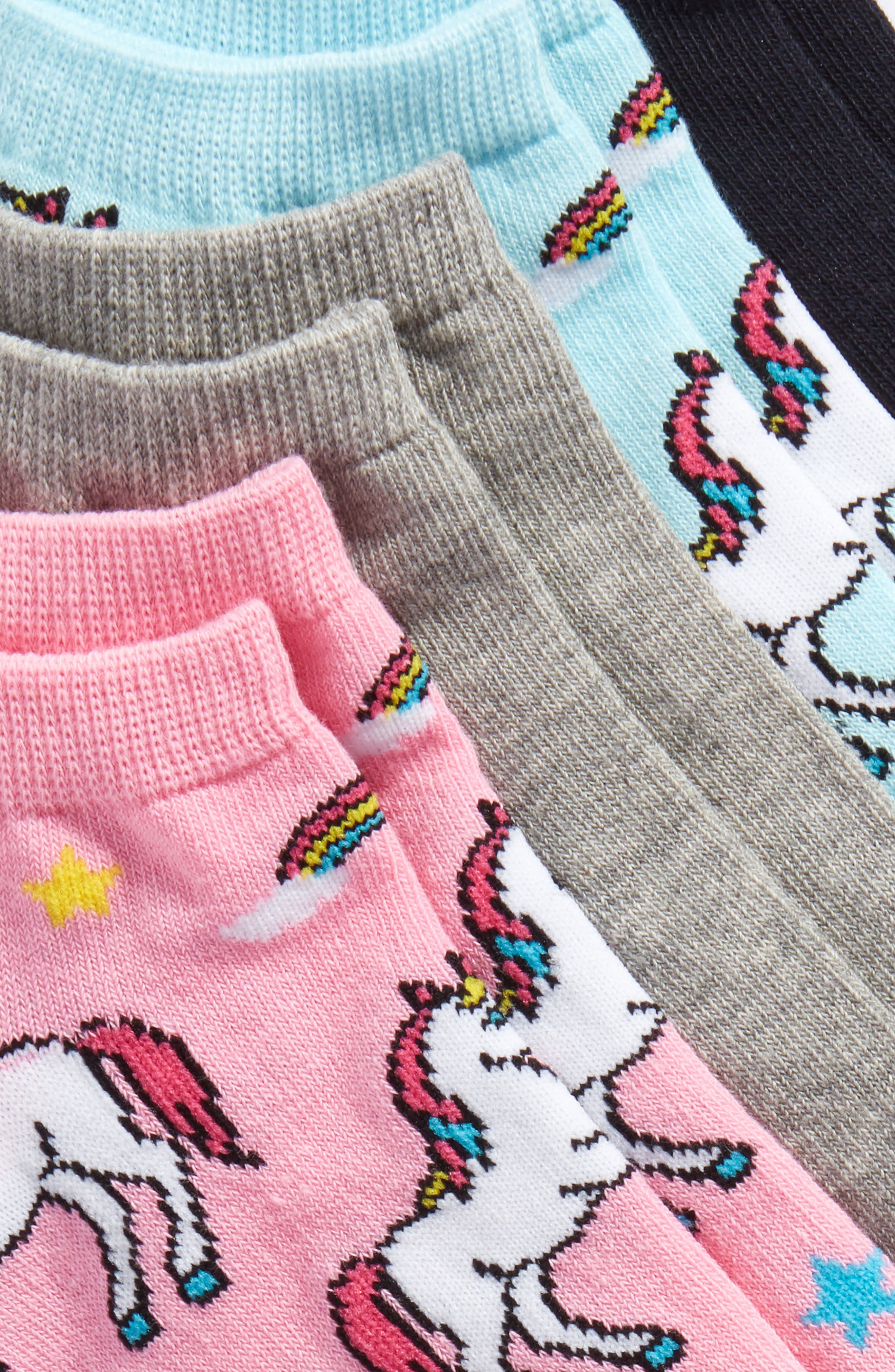 Alternate Image 2  - SOCKART Unicorn 4-Pack Ankle Socks
