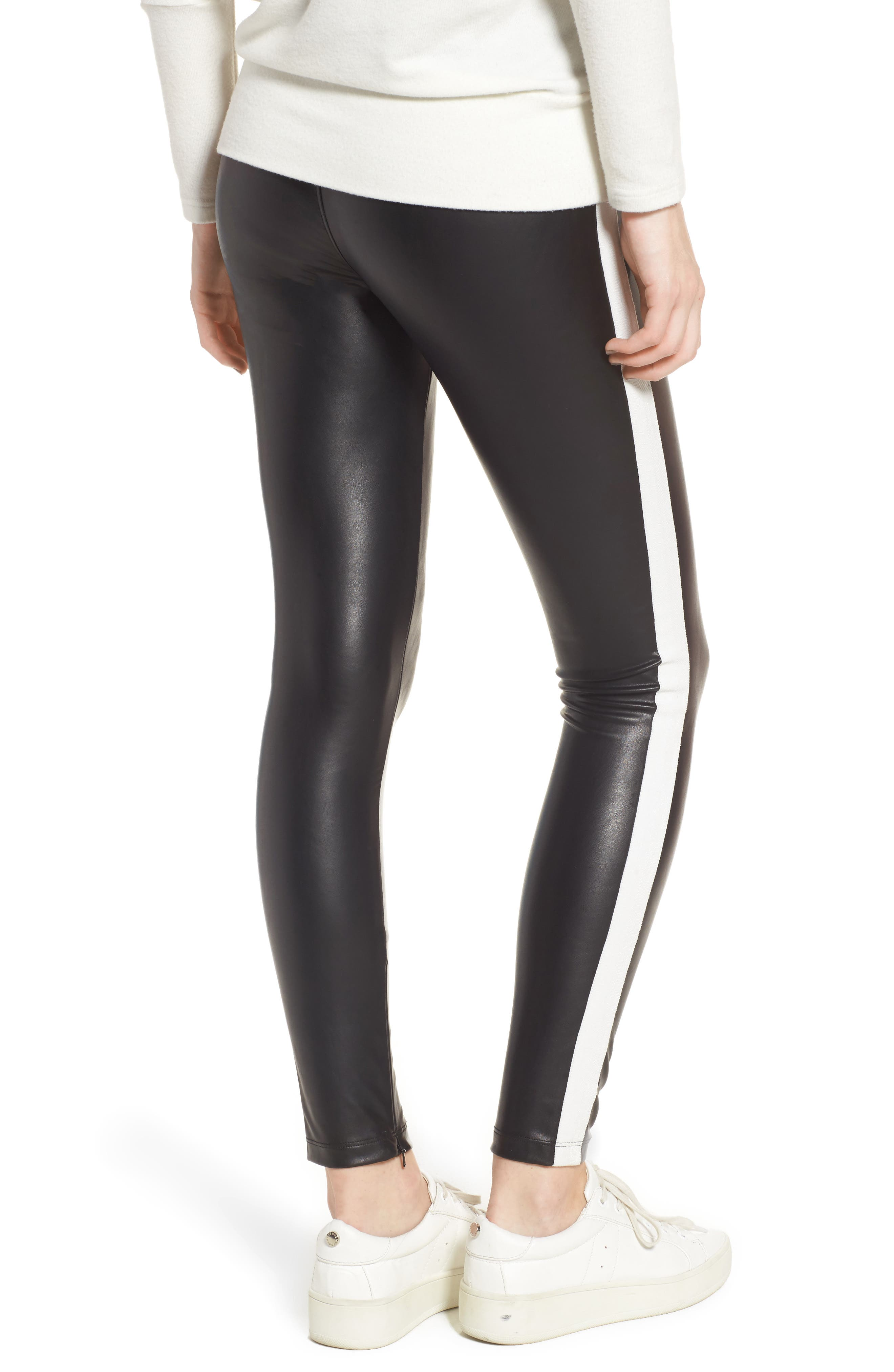 Tuxedo Stripe Zip Faux Leather Leggings,                             Alternate thumbnail 2, color,                             Classic Black W/ White