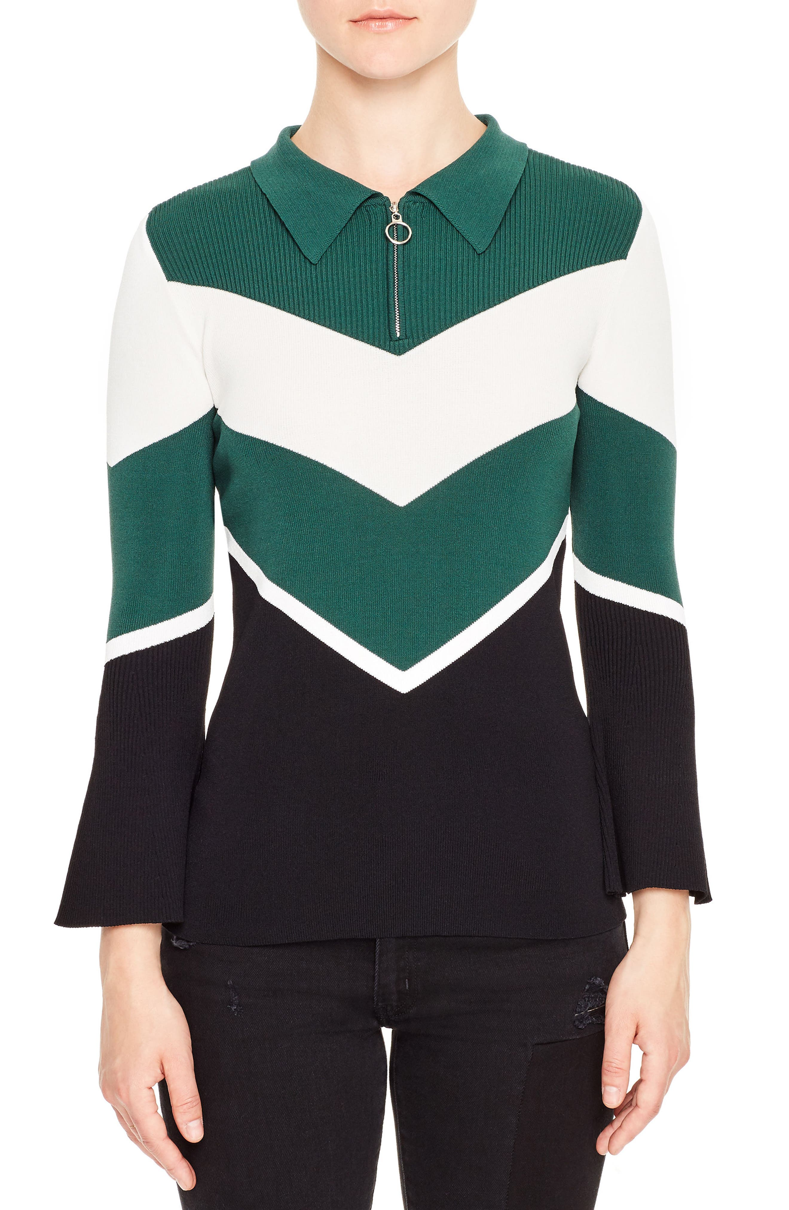 Evita Bell Sleeve Sweater,                         Main,                         color, Forest Green