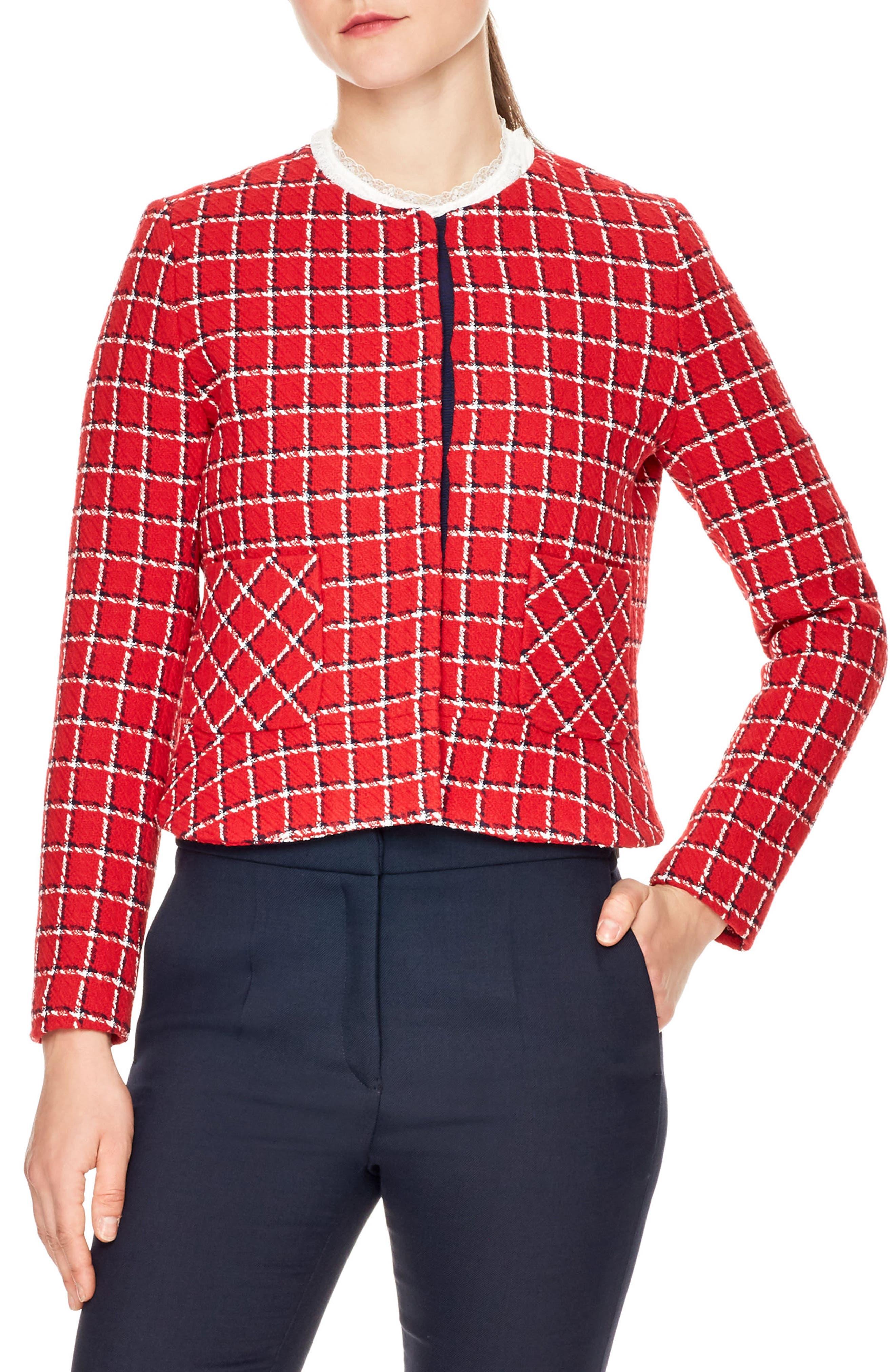 sandro Tessy Check Tweed Jacket