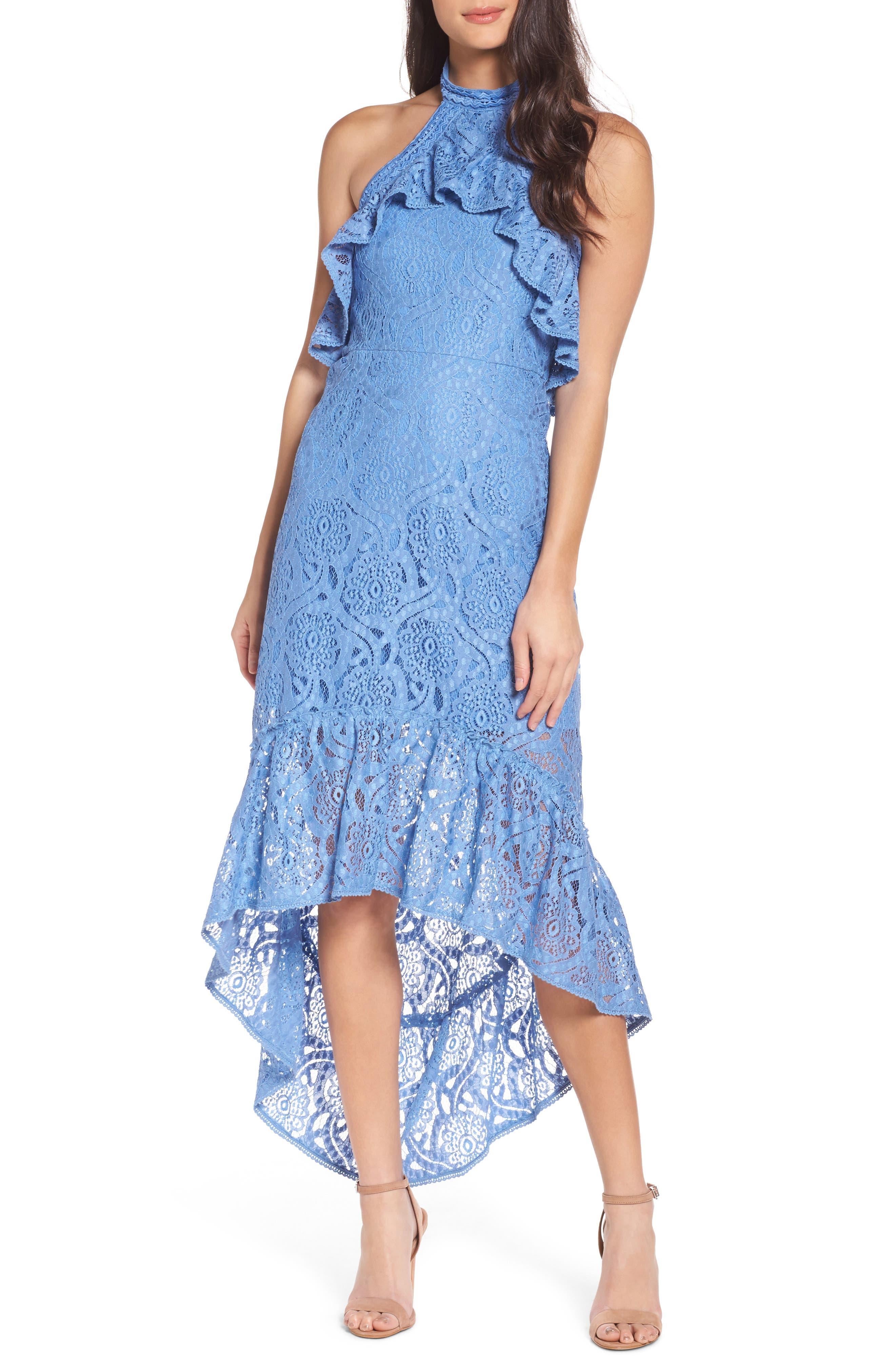 Ruffle Lace Midi Dress,                         Main,                         color, Blue Lake