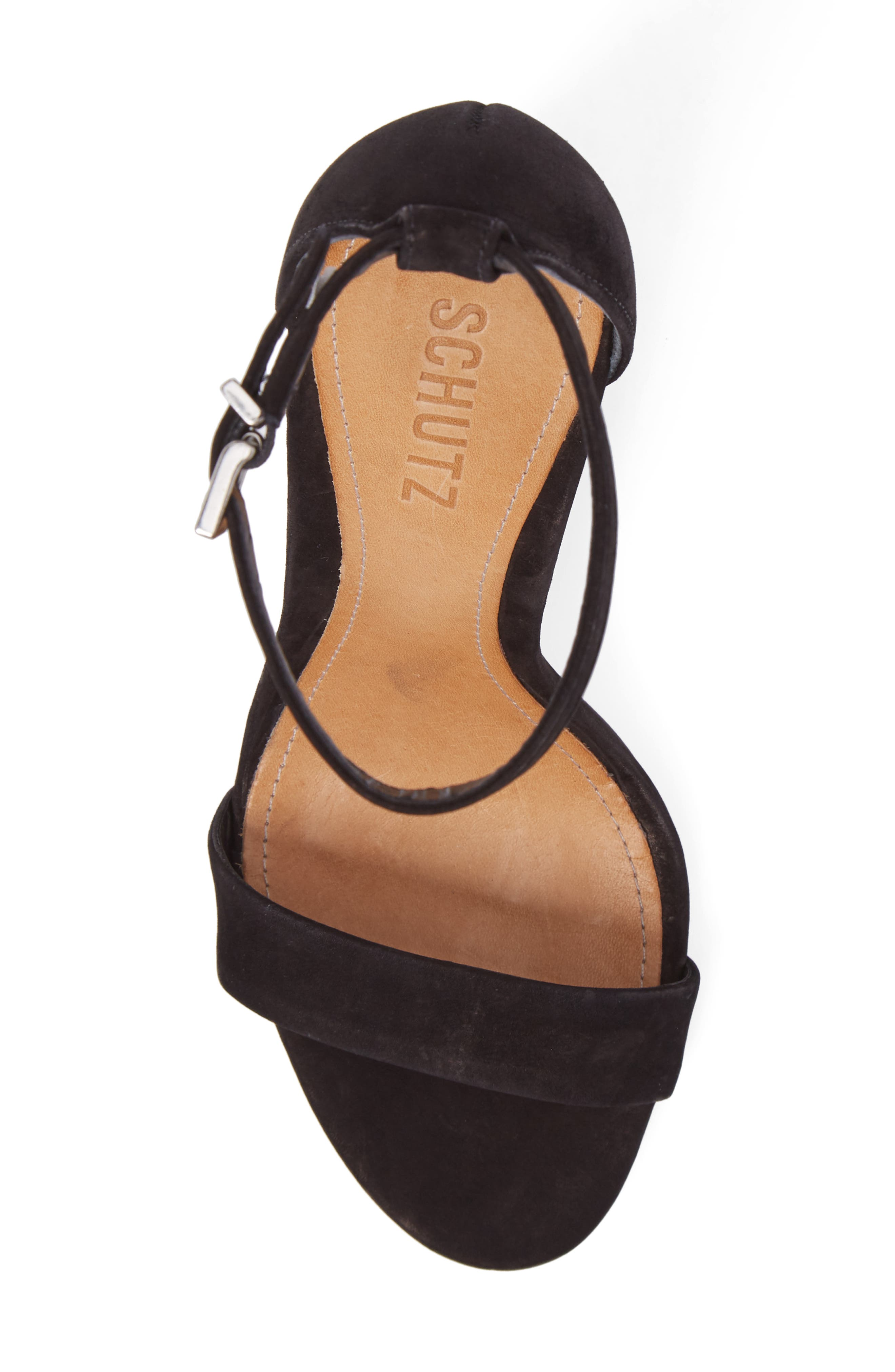 Enida Strappy Sandal,                             Alternate thumbnail 5, color,                             Black Nubuck Leather