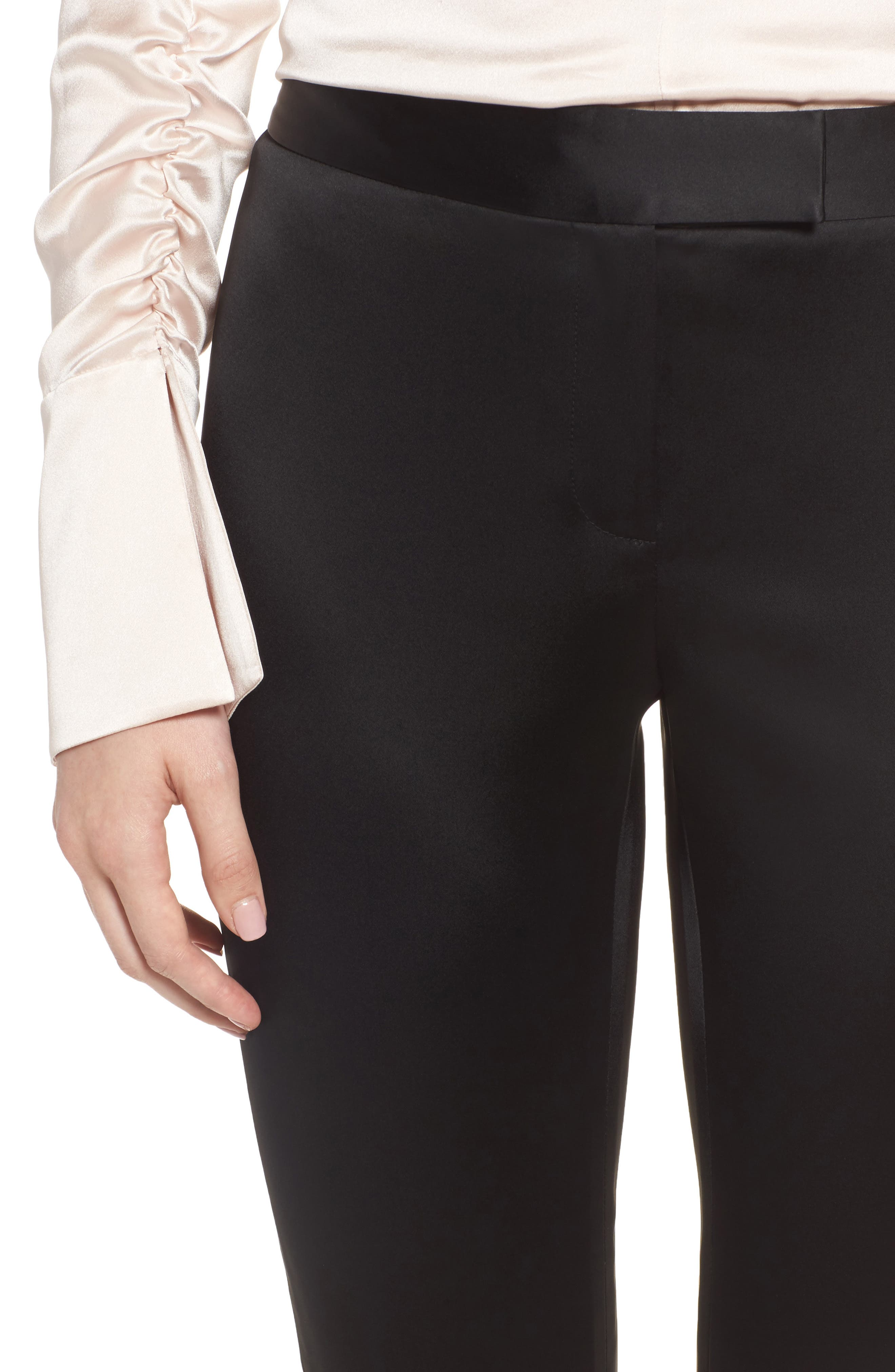 Stretch Satin Skinny Trousers,                             Alternate thumbnail 4, color,                             Black