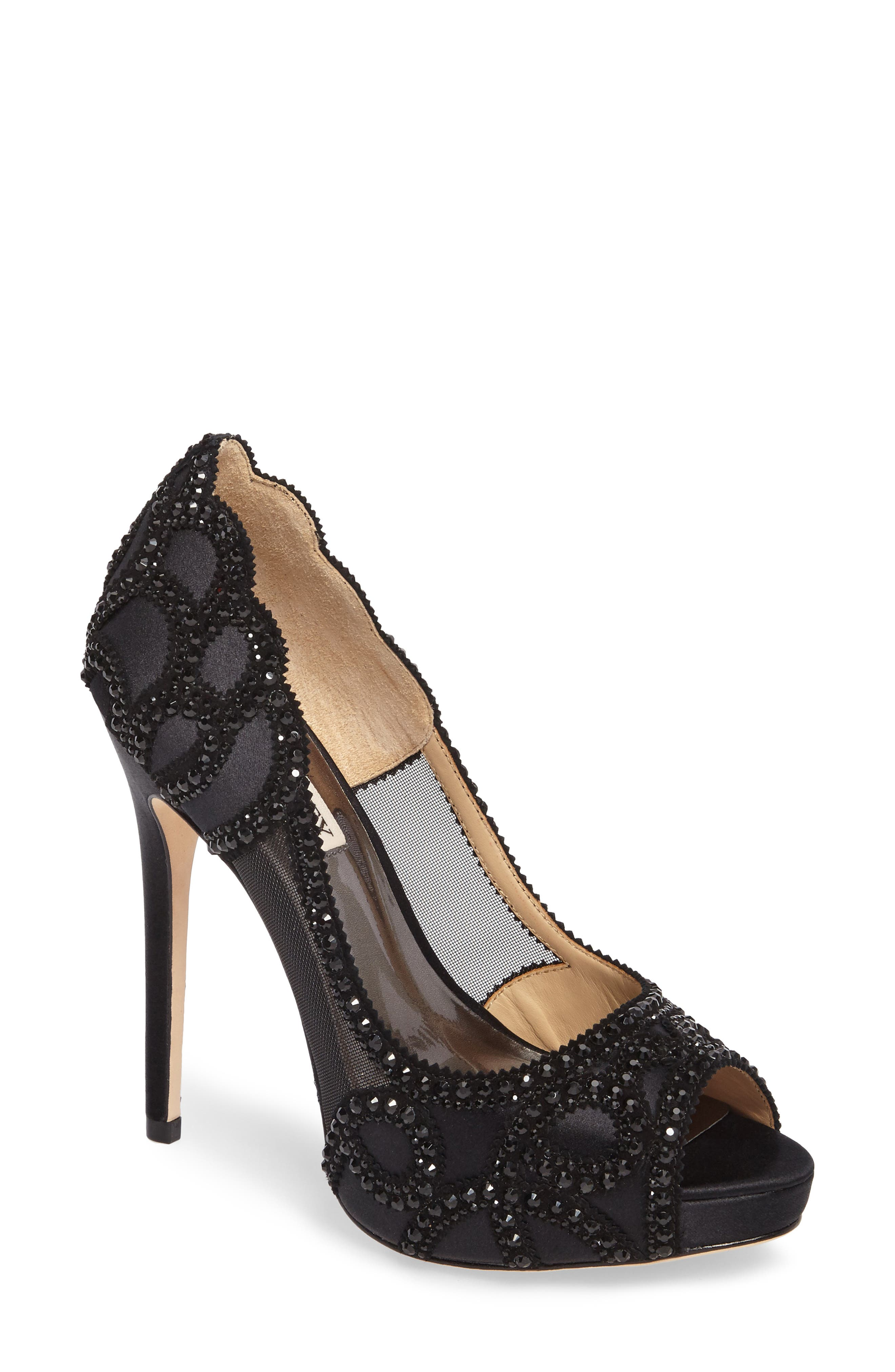 Witney Embellished Peep Toe Pump,                             Main thumbnail 1, color,                             Black Satin