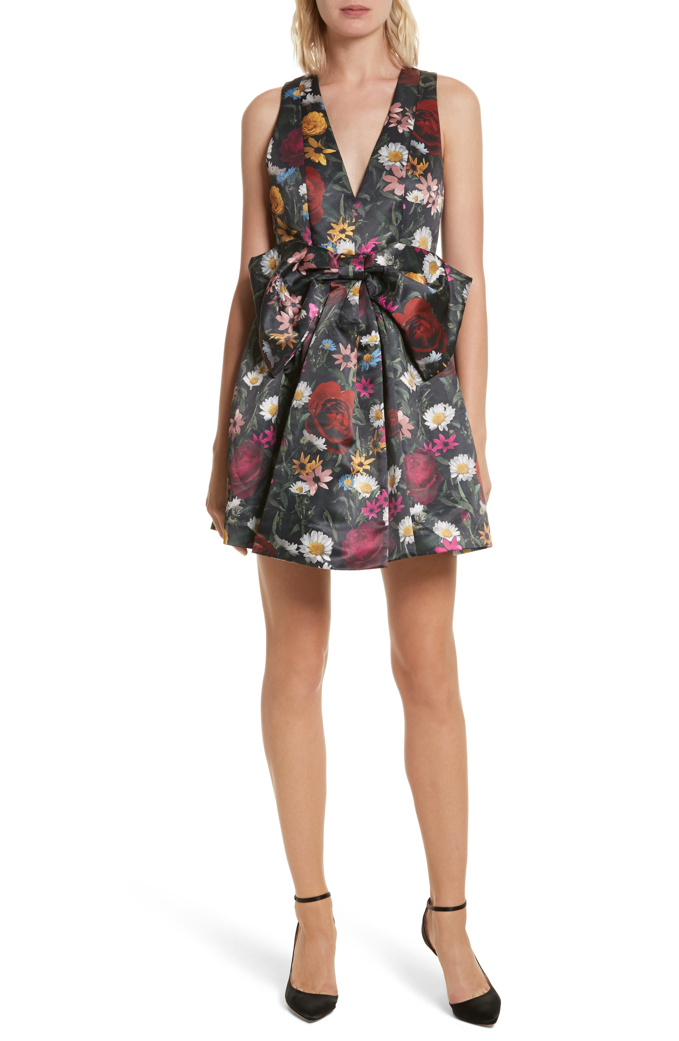 Daralee Bow Front Party Dress,                         Main,                         color, Vivid Floral