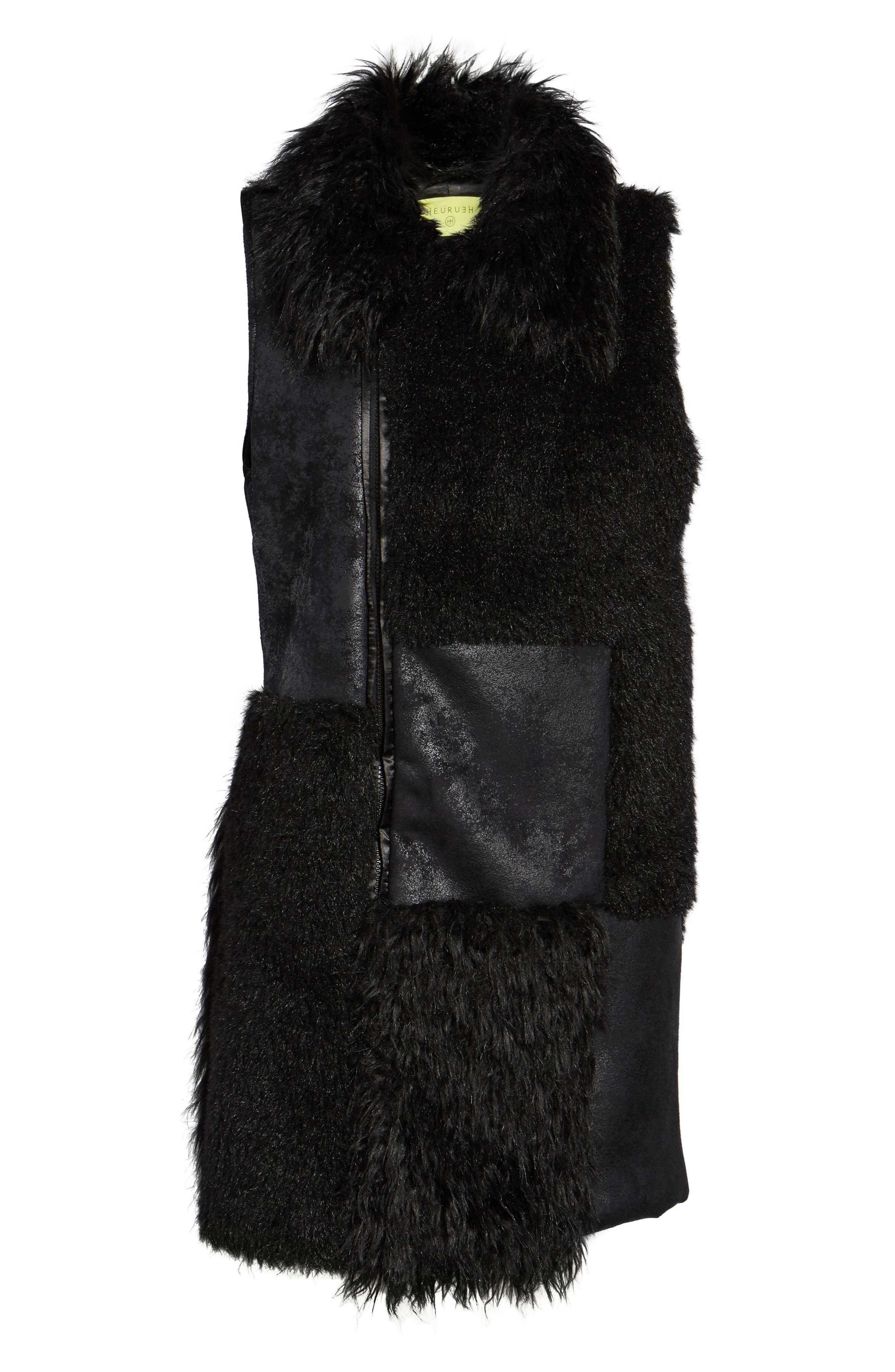 Kimmy Patchwork Faux Fur & Faux Suede Vest,                             Alternate thumbnail 6, color,                             Black