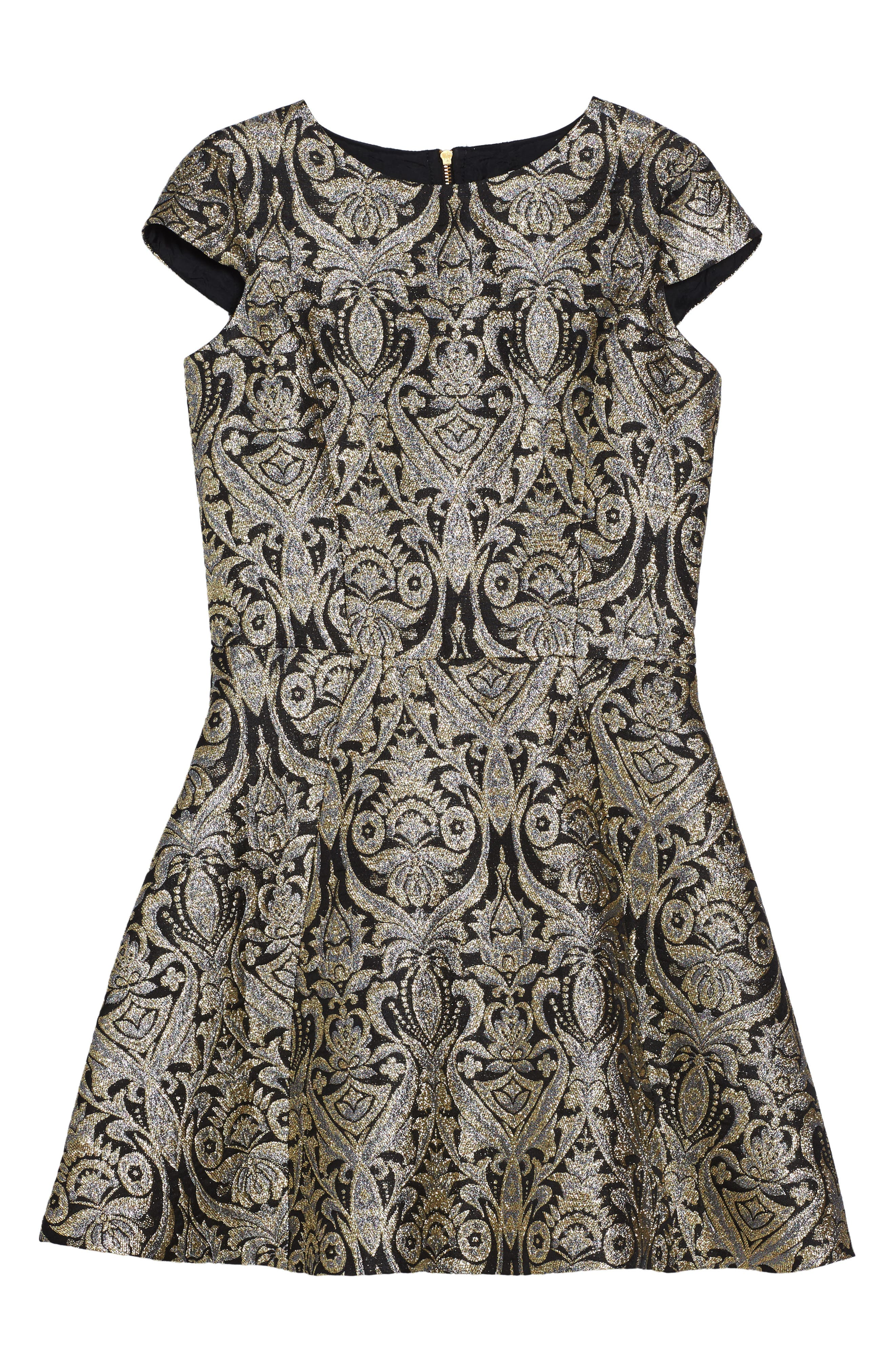Main Image - David Charles Cap Sleeve Brocade Dress (Big Girls)