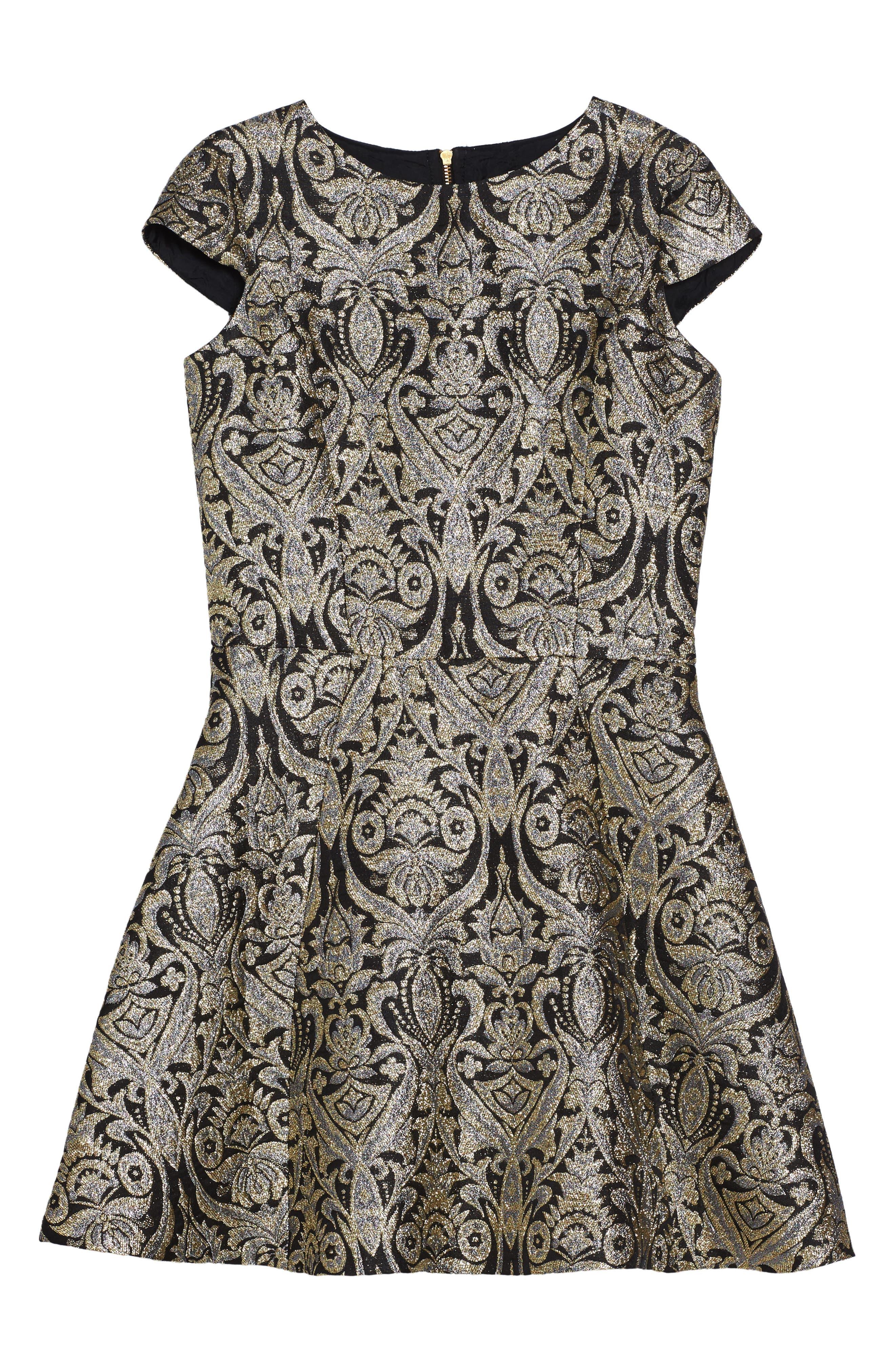 Cap Sleeve Brocade Dress,                         Main,                         color, Black/ Gold