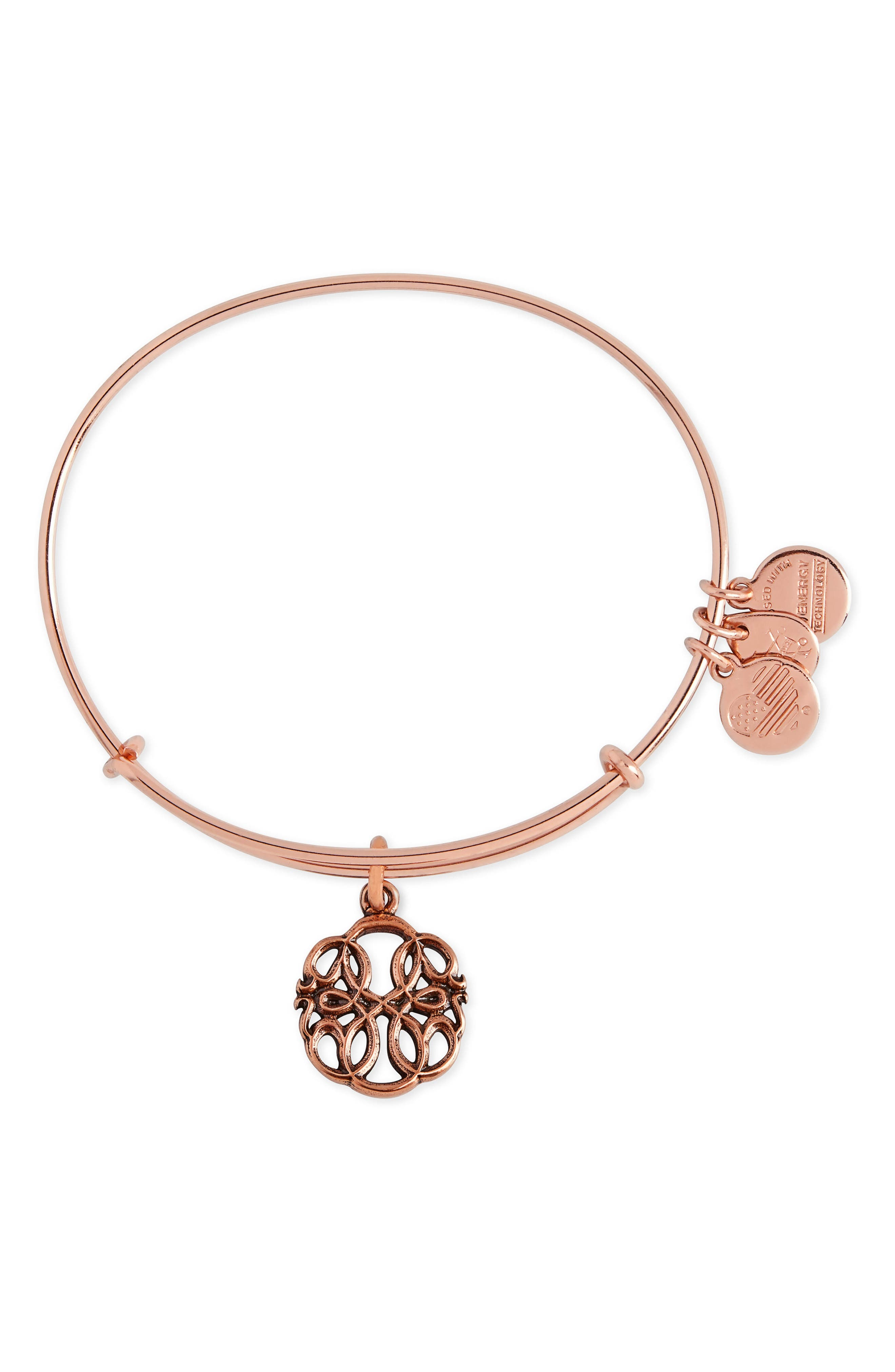Path of Life Adjustable Wire Bangle,                             Main thumbnail 1, color,                             Rose Gold