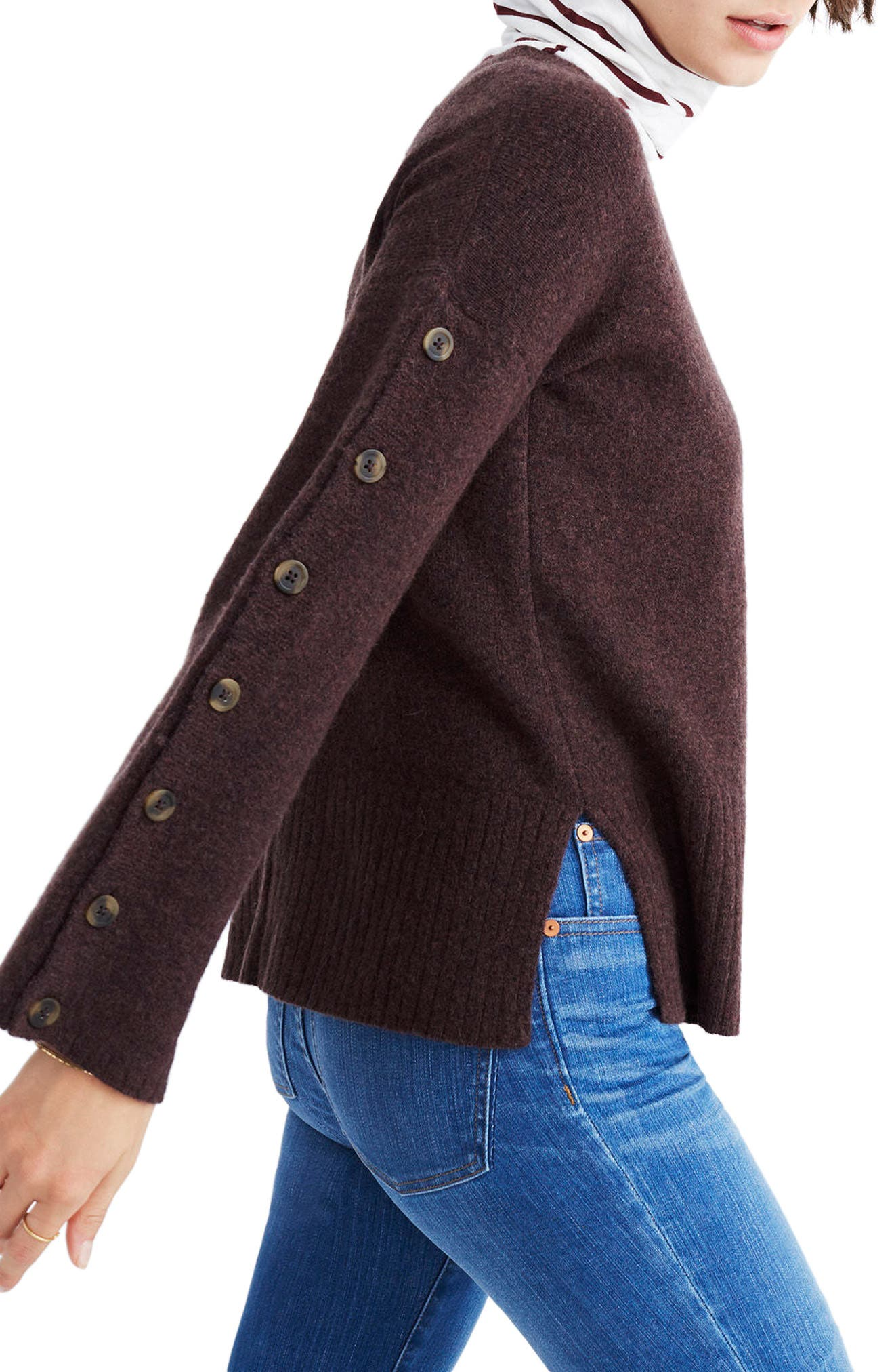 Button Sleeve Pullover Sweater,                             Alternate thumbnail 3, color,                             Heather Coffee