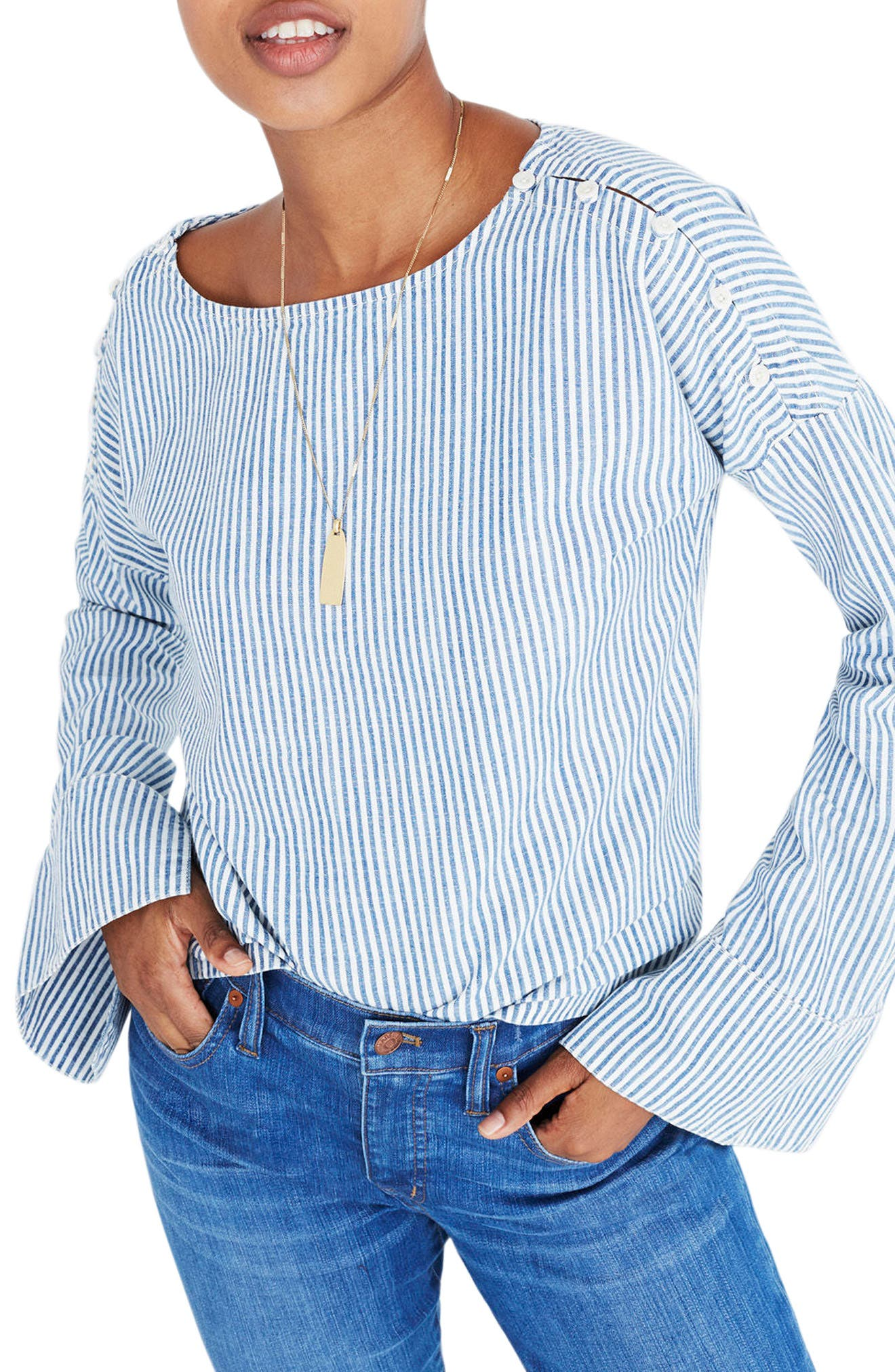 Alternate Image 1 Selected - Madewell Convertible Cold Shoulder Top