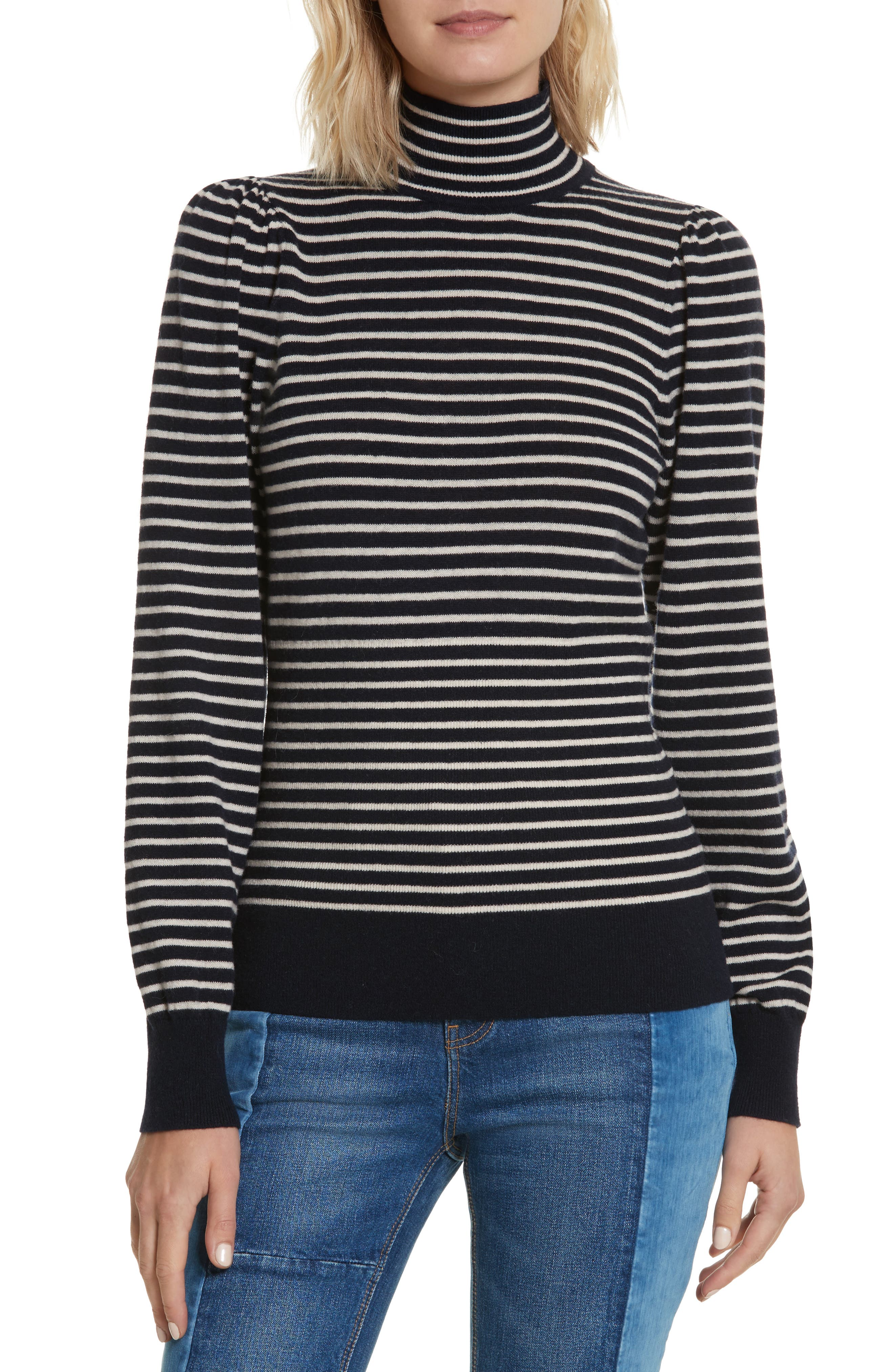 Stripe Stretch Wool Turtleneck,                             Main thumbnail 1, color,                             Navy/ Sand