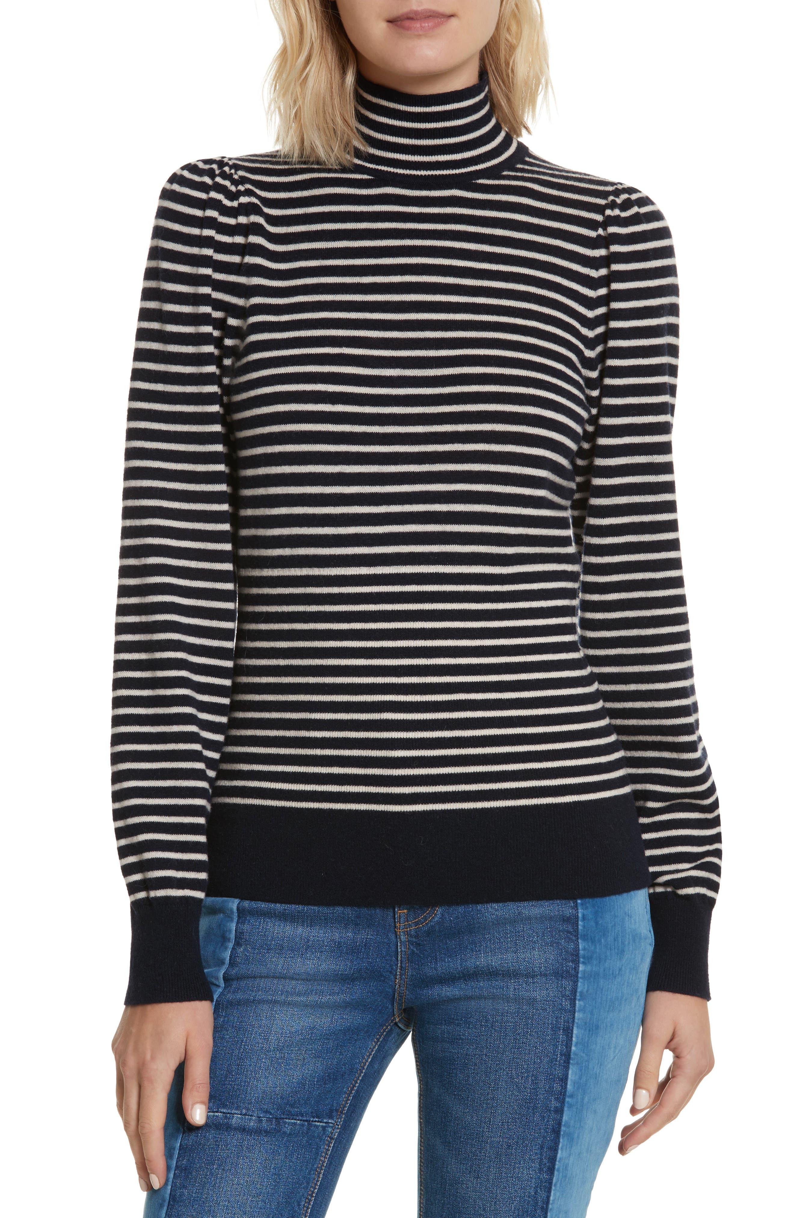 Stripe Stretch Wool Turtleneck,                         Main,                         color, Navy/ Sand