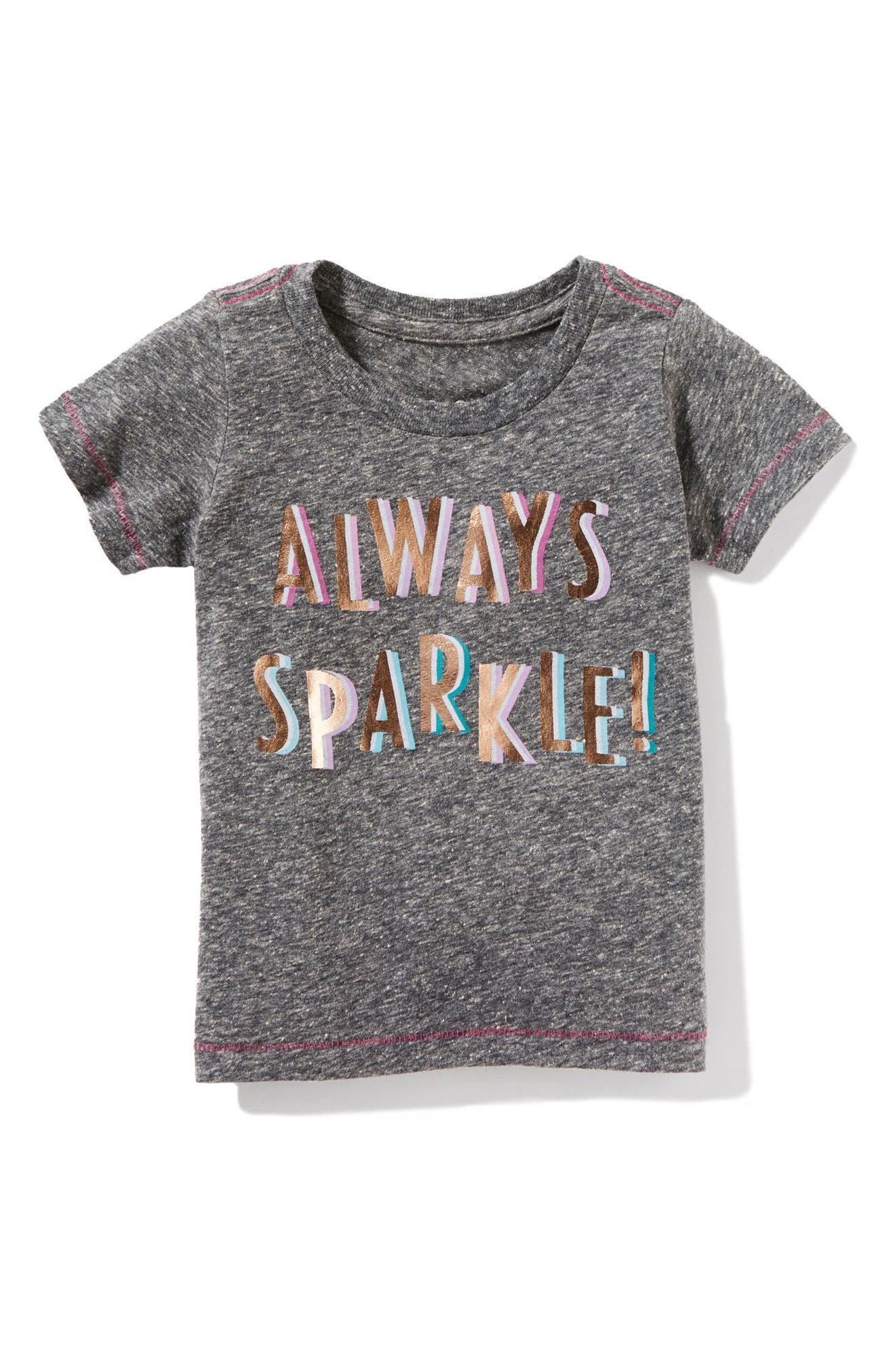 Alternate Image 1 Selected - Peek Always Sparkle Graphic Tee (Baby Girls)