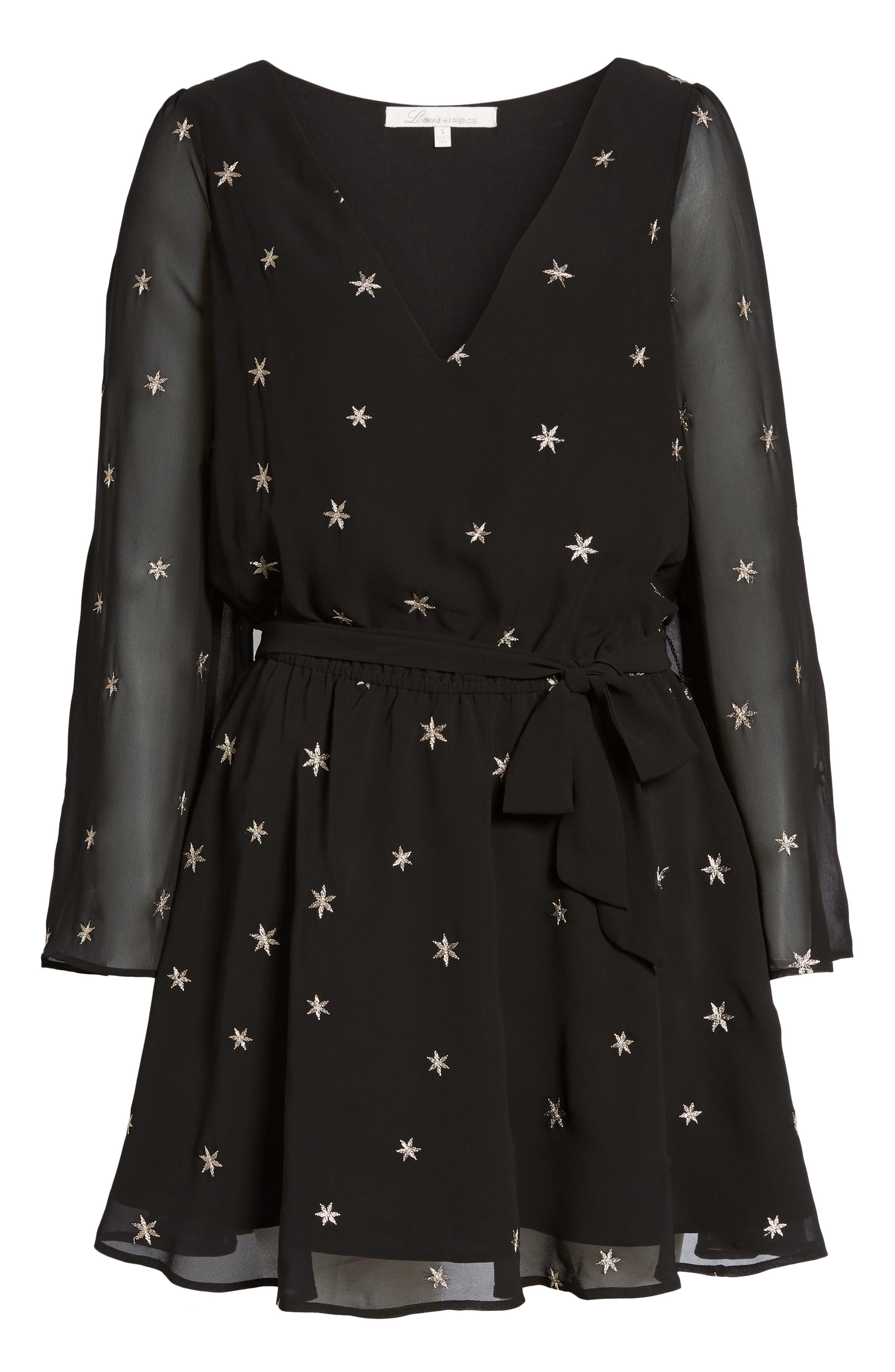 Lila Blouson Dress,                             Alternate thumbnail 6, color,                             Night/ Gold