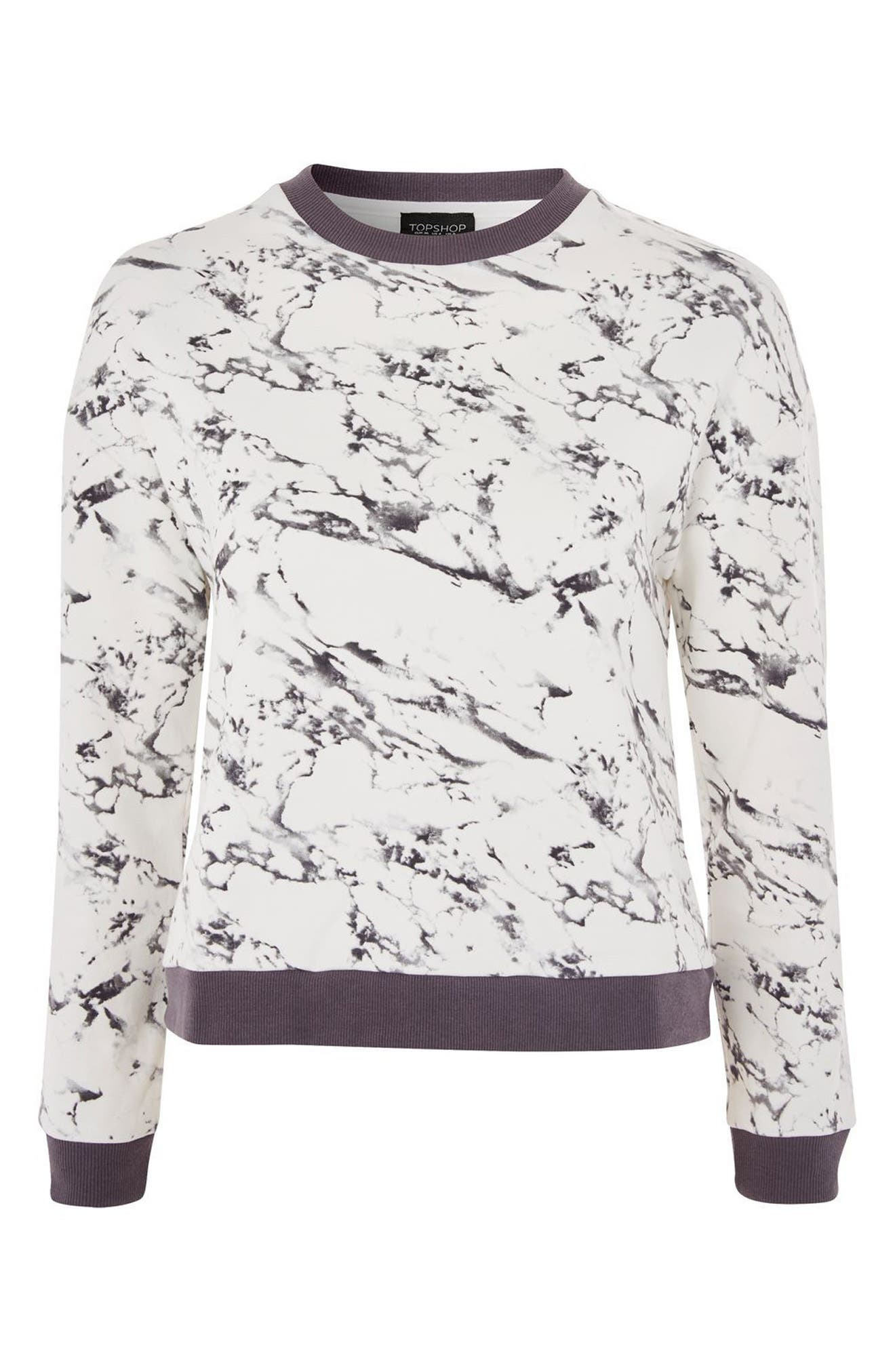 Marble Print Lounge Sweatshirt,                             Alternate thumbnail 2, color,                             Grey Multi
